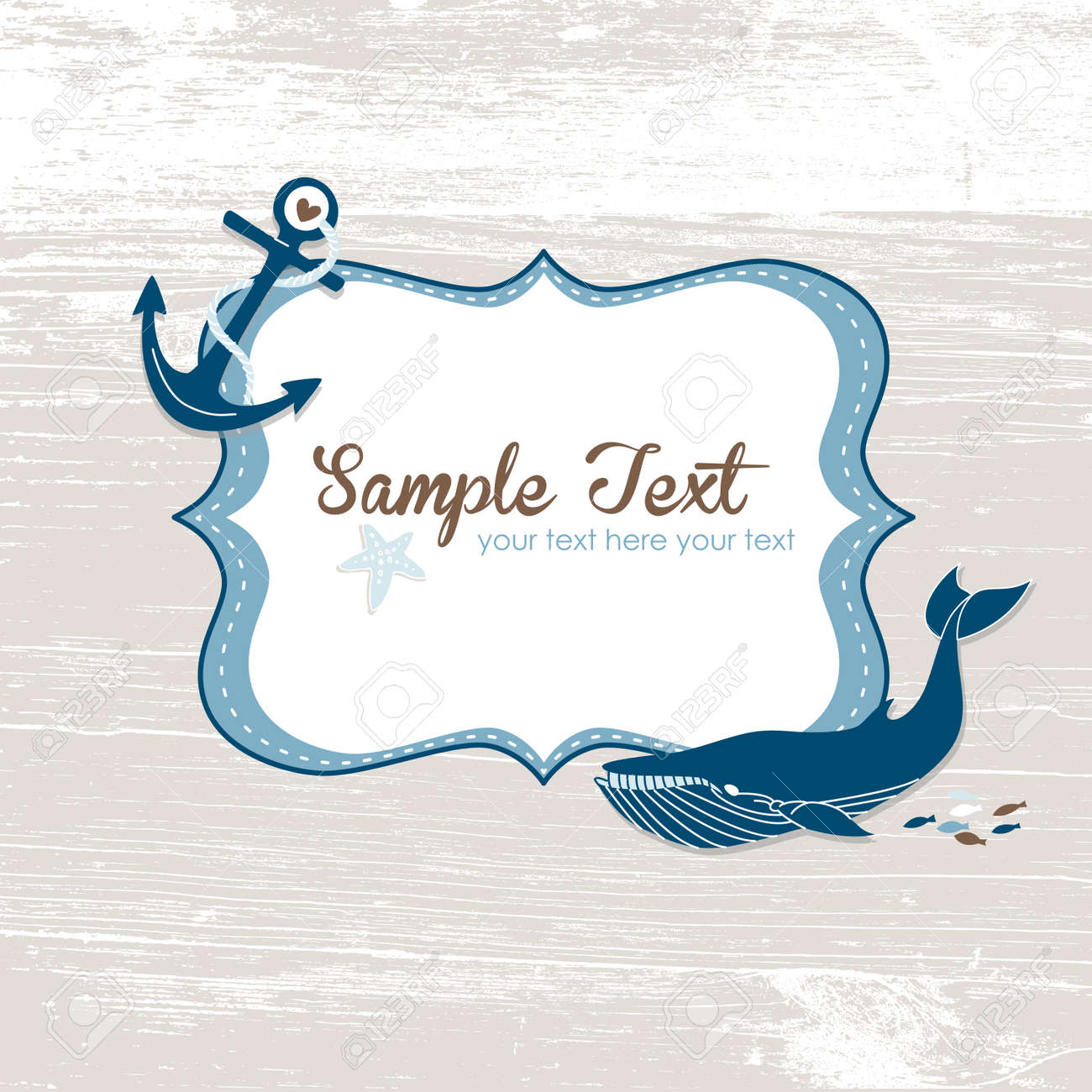 Grunge nautical card with a frame, anchor and a blue whale. Stock Vector - 15158882