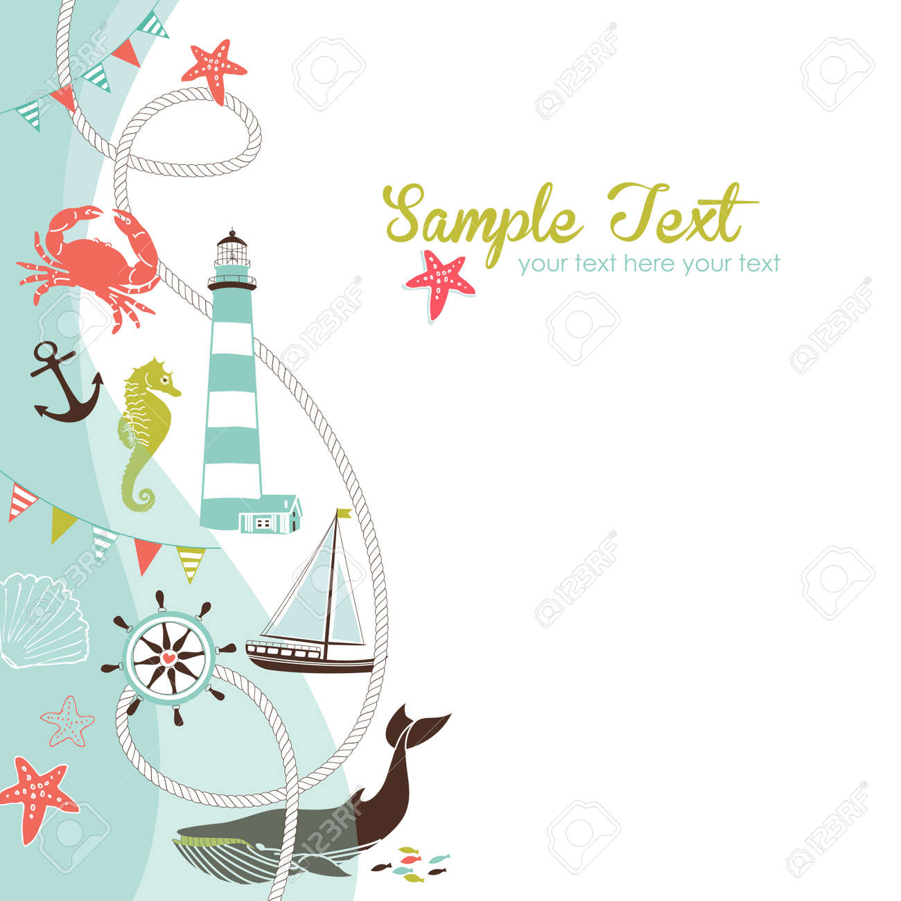 Nautical border with space for your text Stock Vector - 15158614