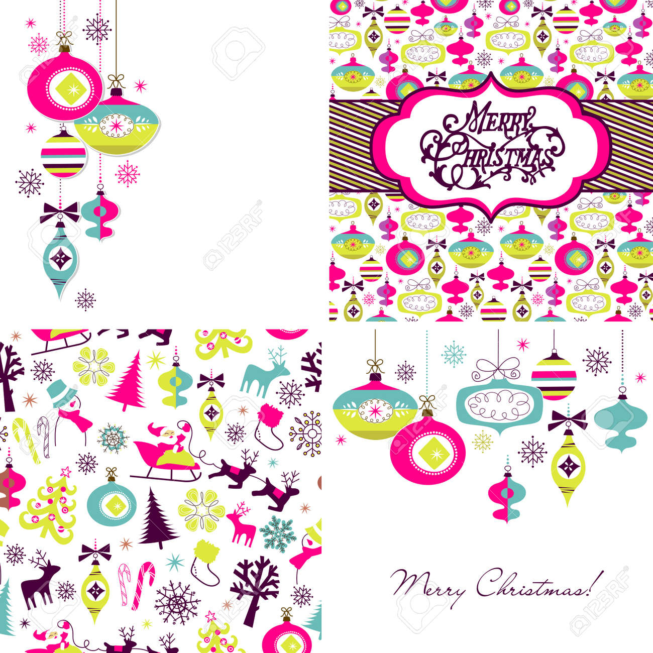Set of Christmas Retro backgrounds Stock Vector - 16681259