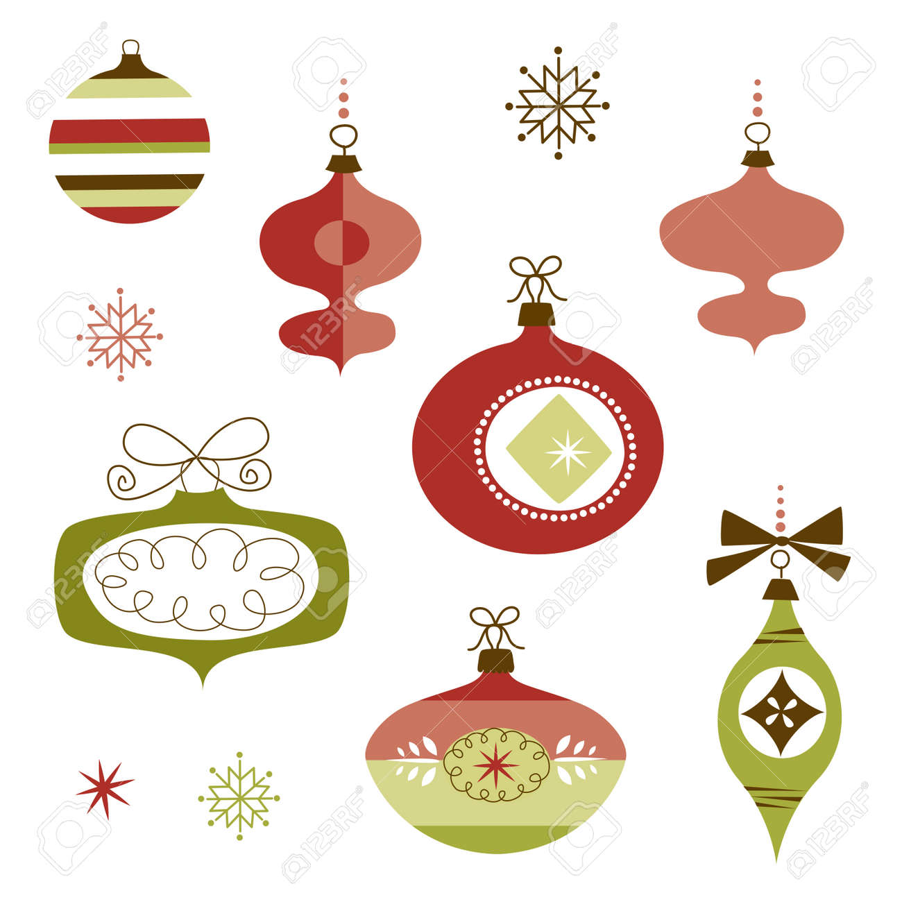 Set Of Retro Christmas Ornaments Royalty Free Cliparts, Vectors ...