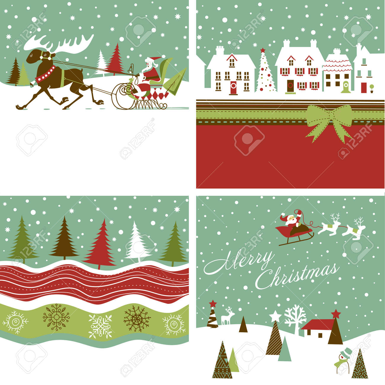 Set Of Retro Christmas Cards Royalty Free Cliparts, Vectors, And ...