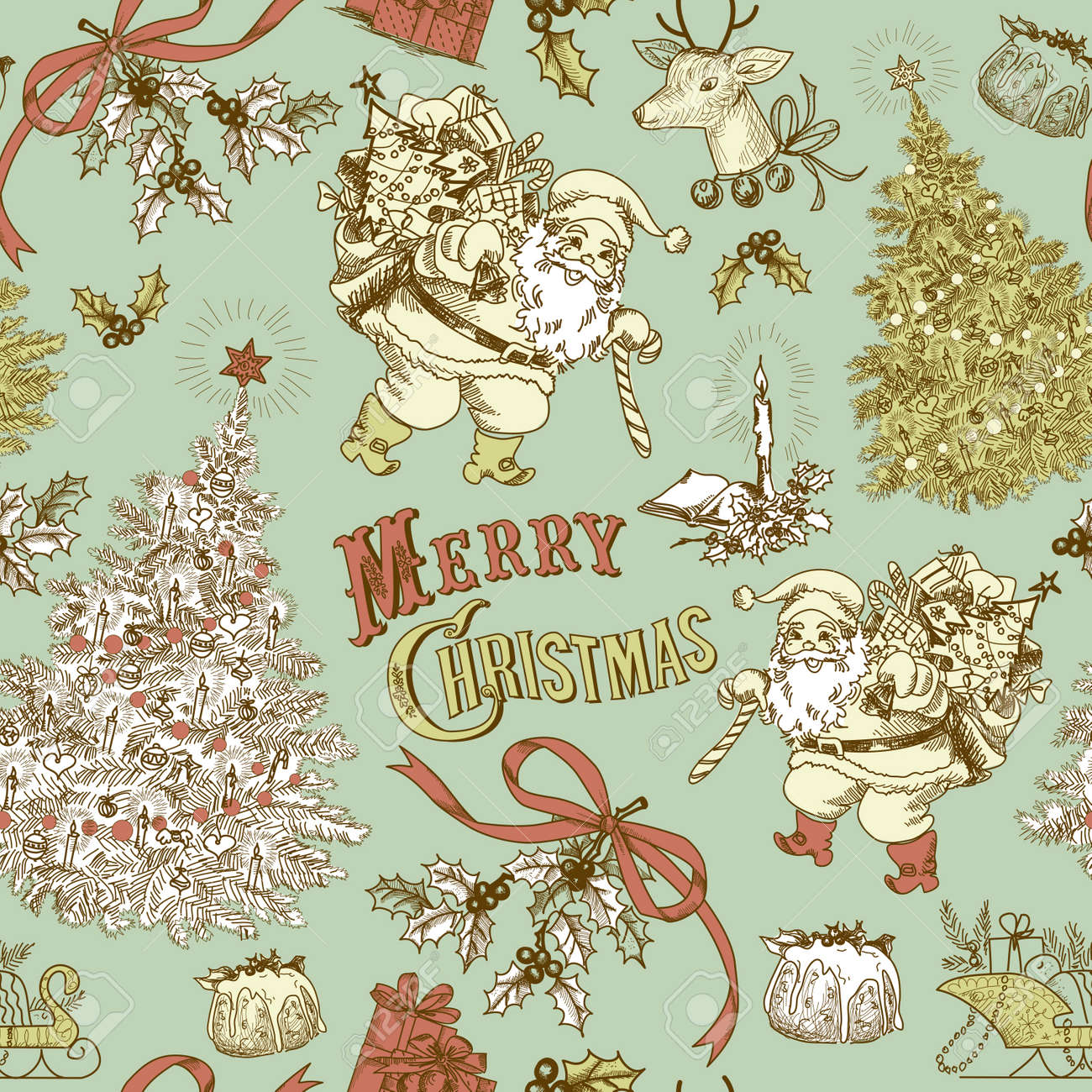 Vintage Christmas seamless pattern Stock Vector - 16681289