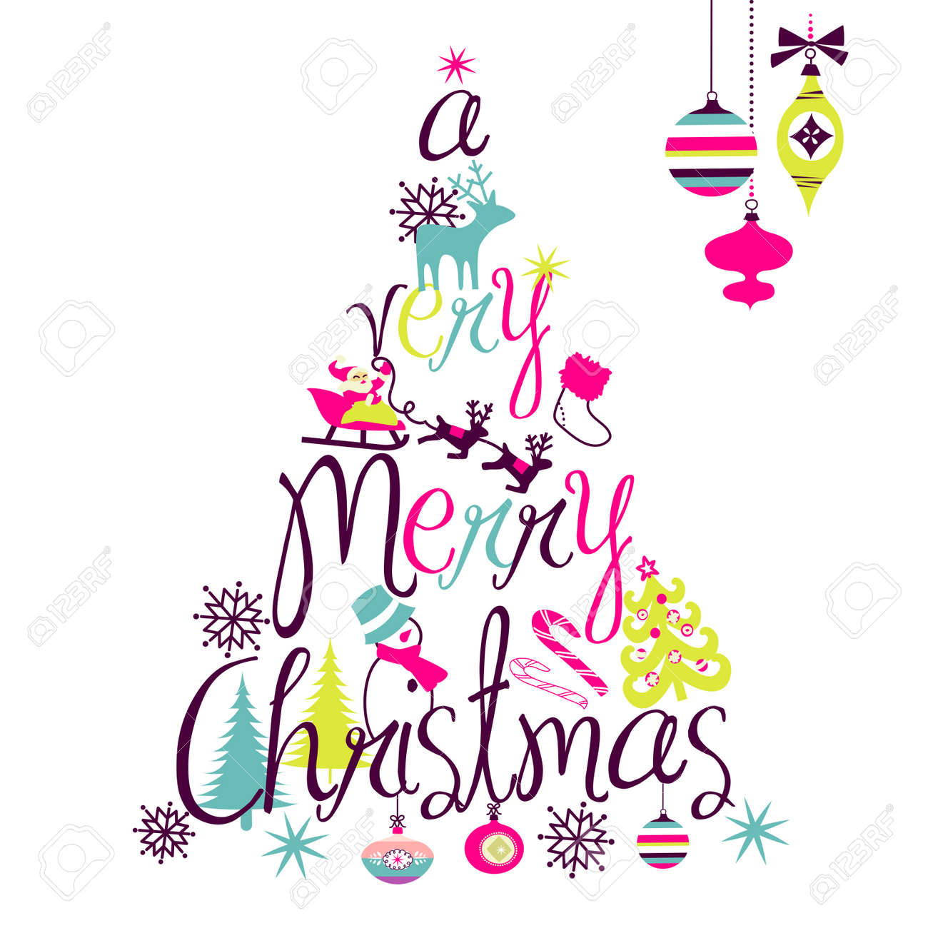 A Very Merry Christmas Tree Design Royalty Free Cliparts, Vectors ...