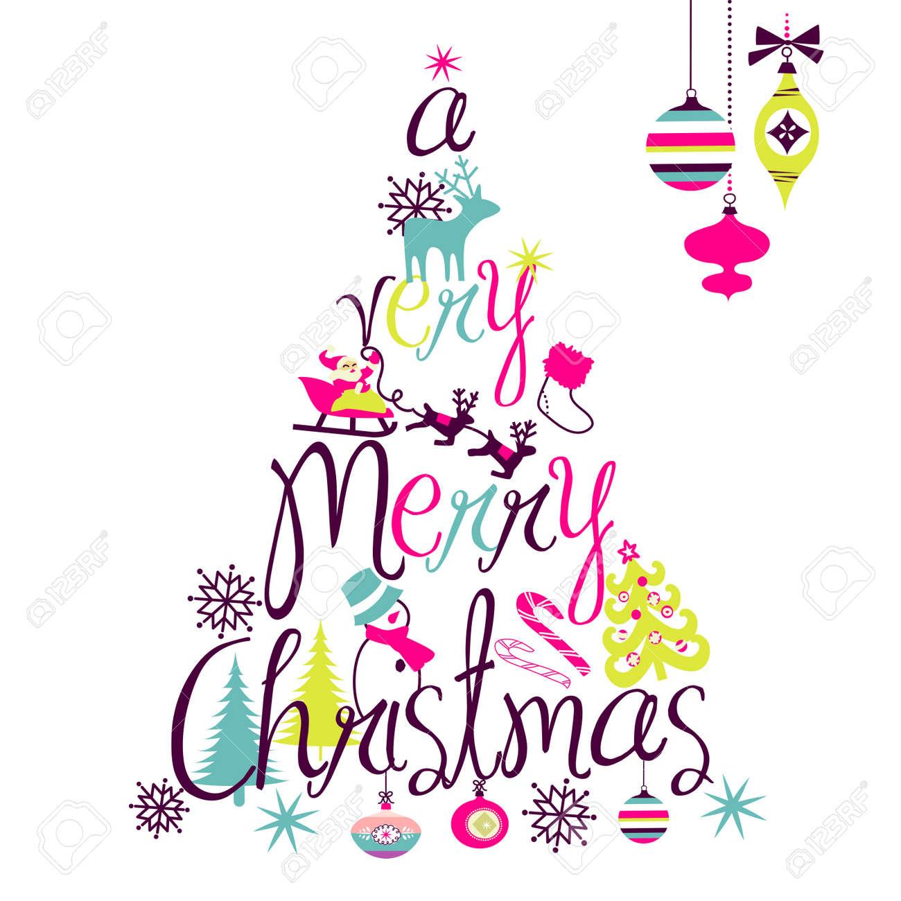 A Very Merry Christmas Tree Diseño Ilustraciones Vectoriales, Clip ...