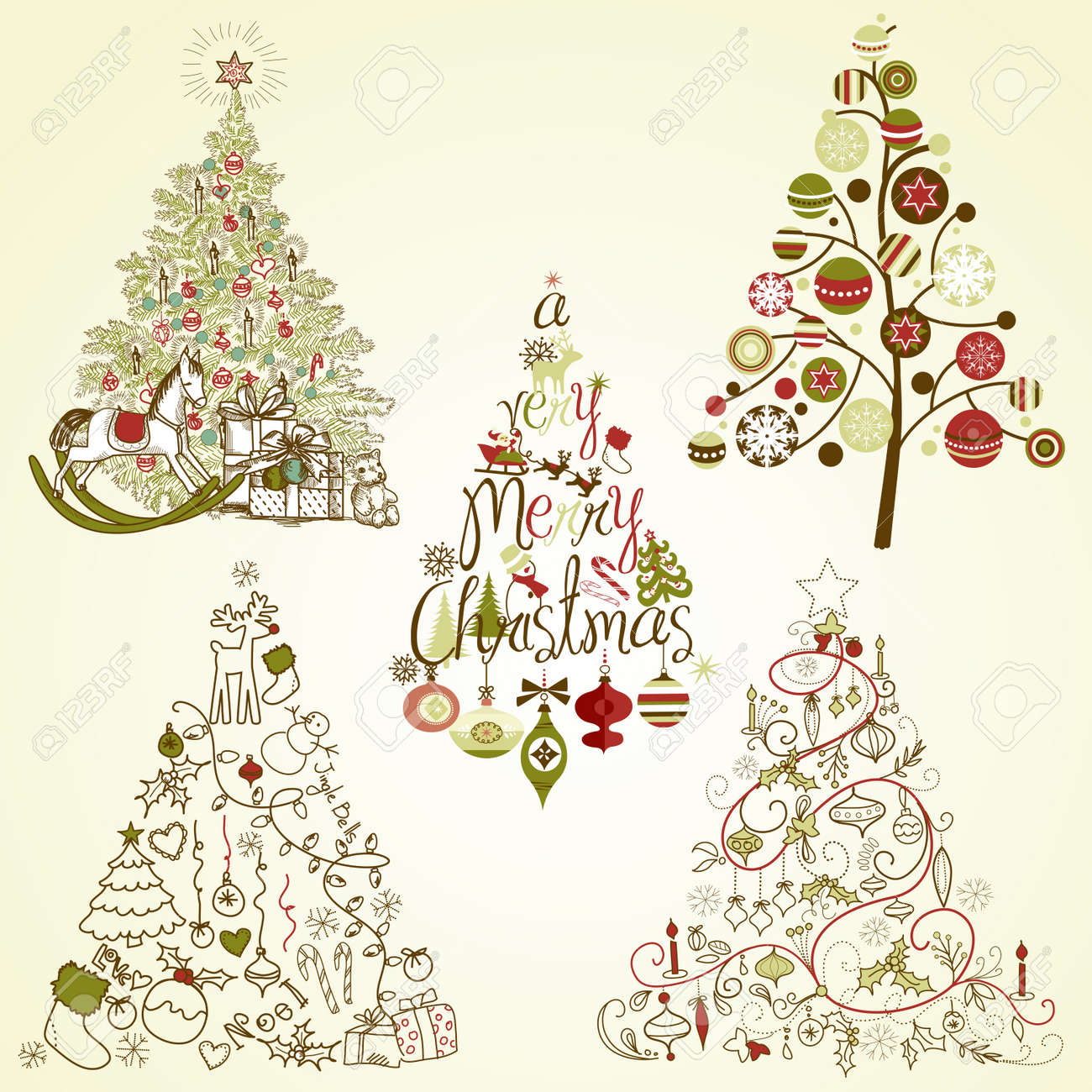 Christmas tree collection. Vintage, retro, cute, calligraphic - all type of hand drawn trees Stock Vector - 16681252