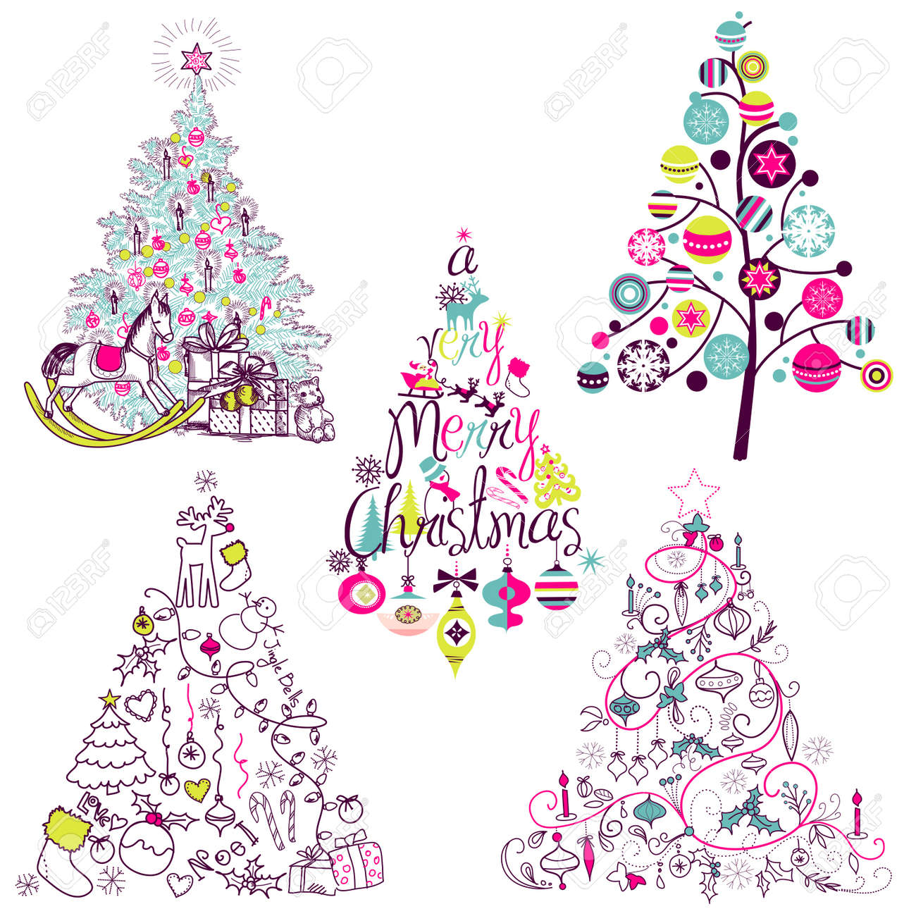 Christmas tree collection. Vintage, retro, cute, calligraphic - all type of hand drawn trees Stock Vector - 16681250