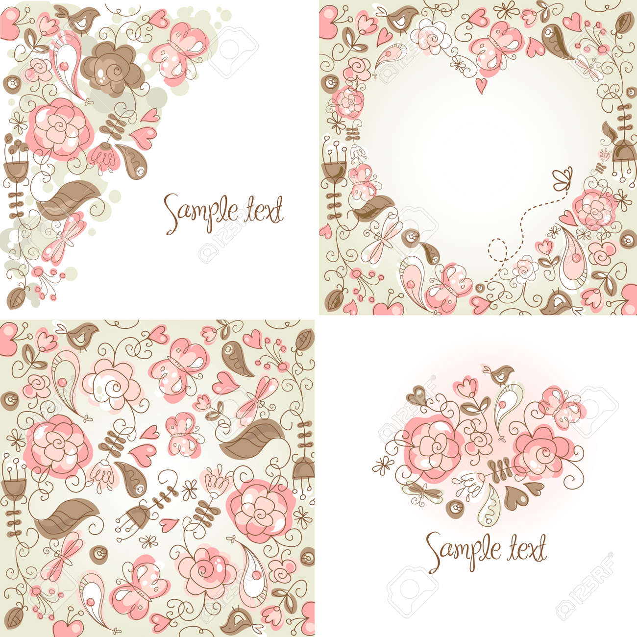 set of folk floral backgrounds royalty free cliparts vectors and