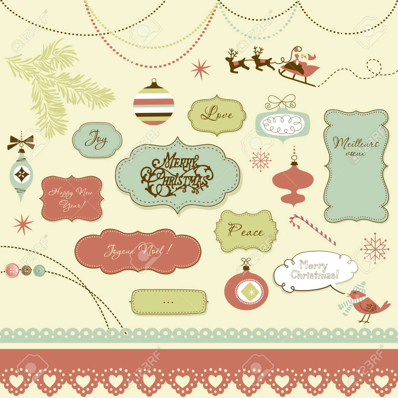 A set of Christmas scrapbook elements, vintage frames, ribbons, ornaments Stock Vector - 16681088