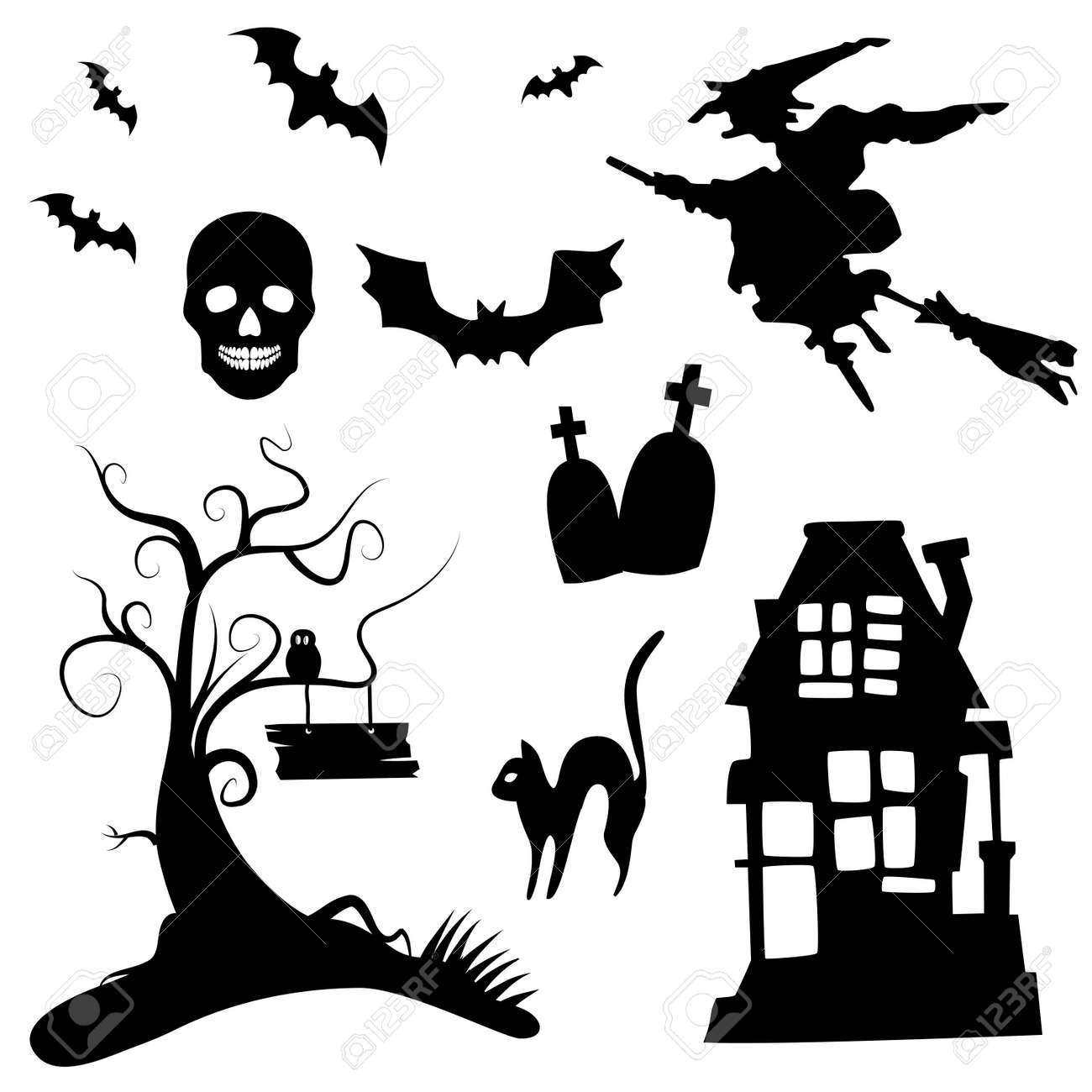 Set Of Halloween Silhouettes On The White Background Royalty Free ...