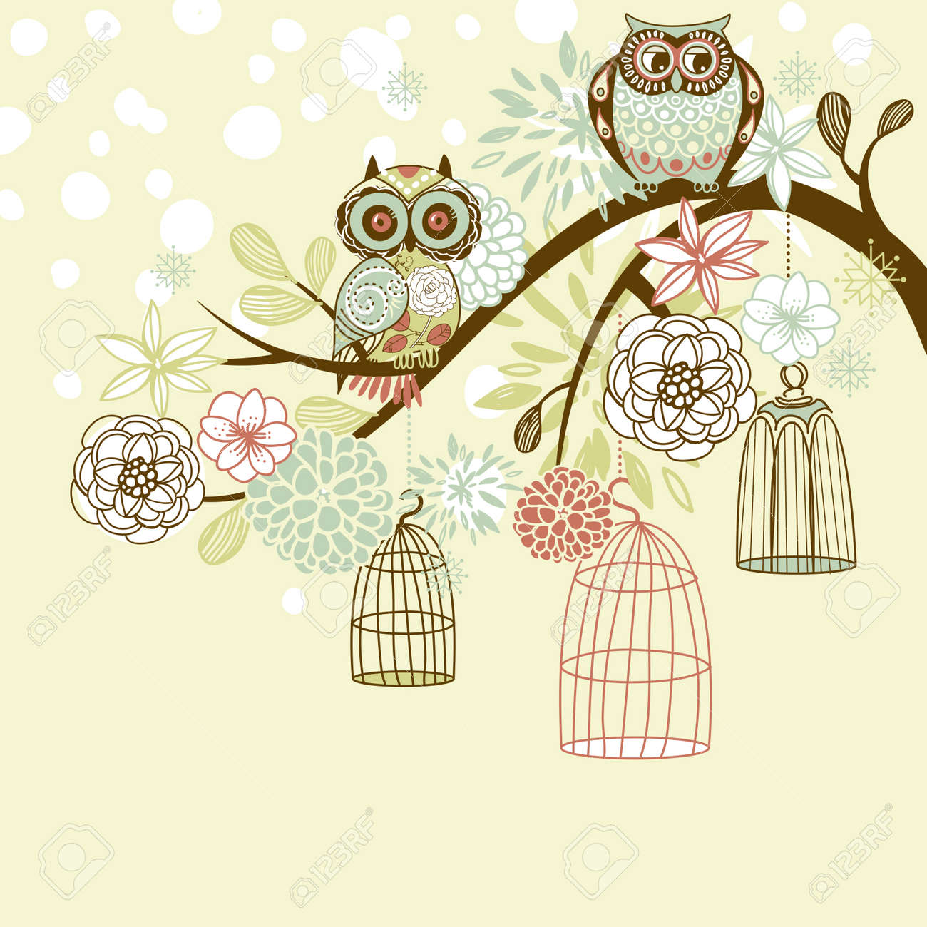 Owl winter floral background. Owls out of their cages concept vector Stock Vector - 16681054