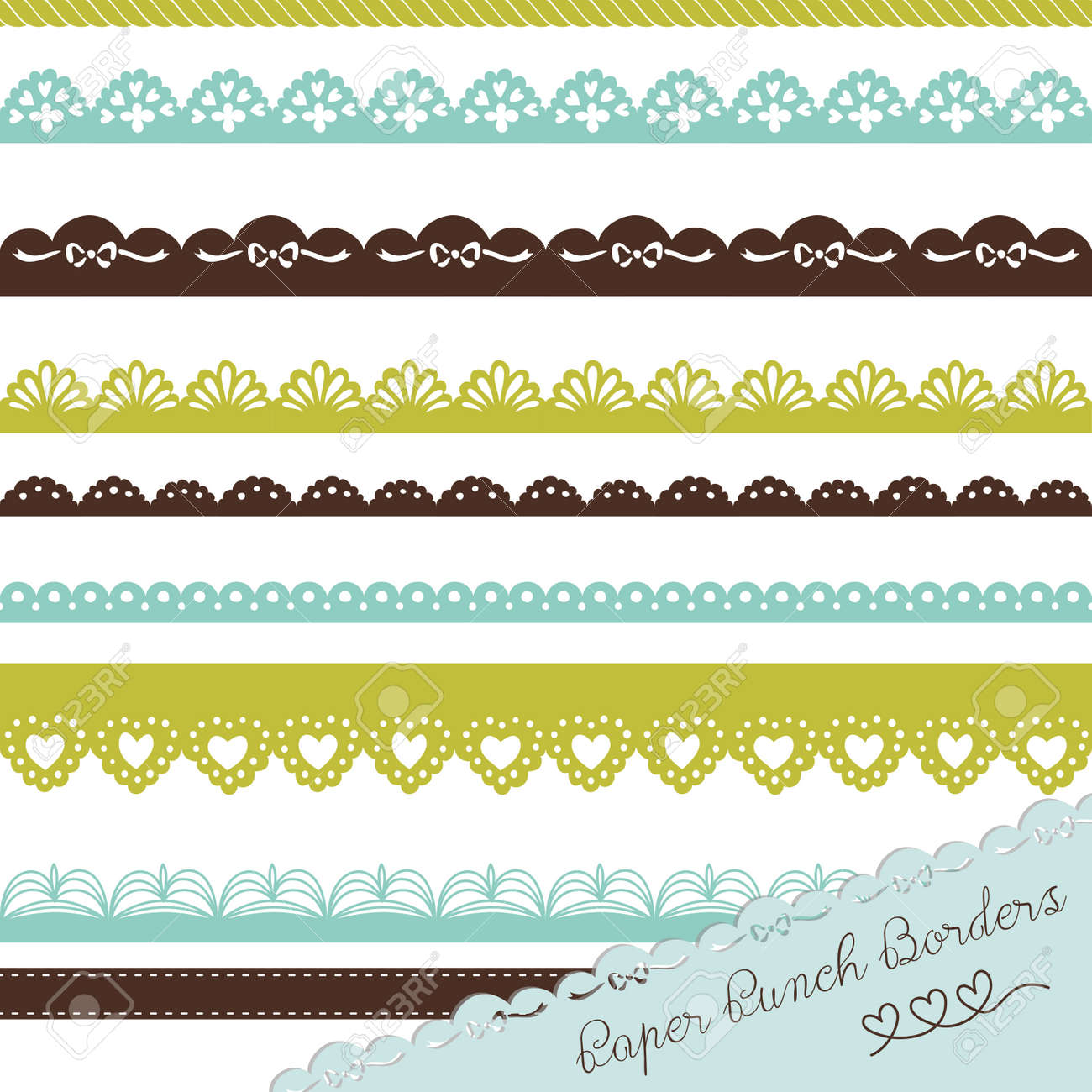 Set of hand-drawn Lace Paper Punch Borders Stock Vector - 16681045