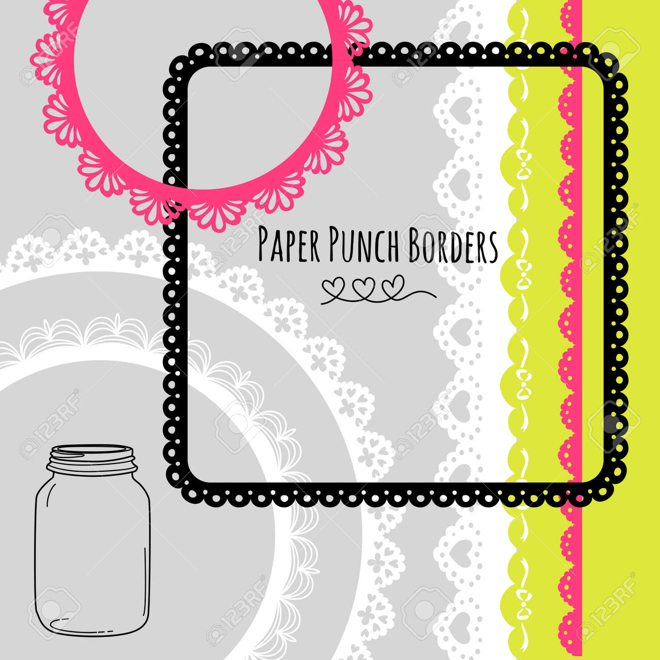 Set of hand-drawn Lace Paper Punch Borders and frames Stock Vector - 16681050