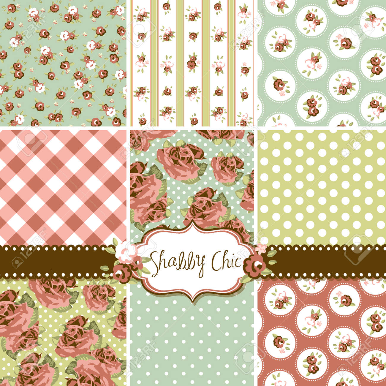 Shabby Chic Rose Patterns and seamless backgrounds. Ideal for printing onto fabric and paper or scrap booking. Stock Vector - 16681280