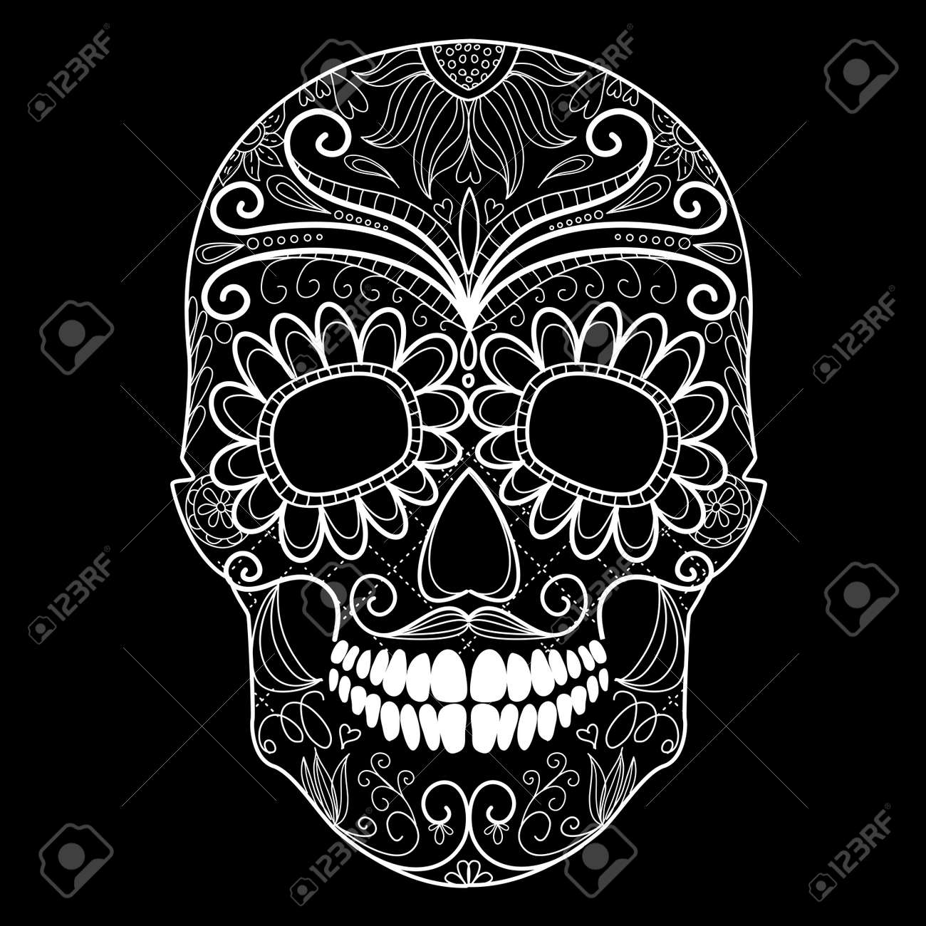 Day of The Dead black and white Skull Stock Vector - 16680980