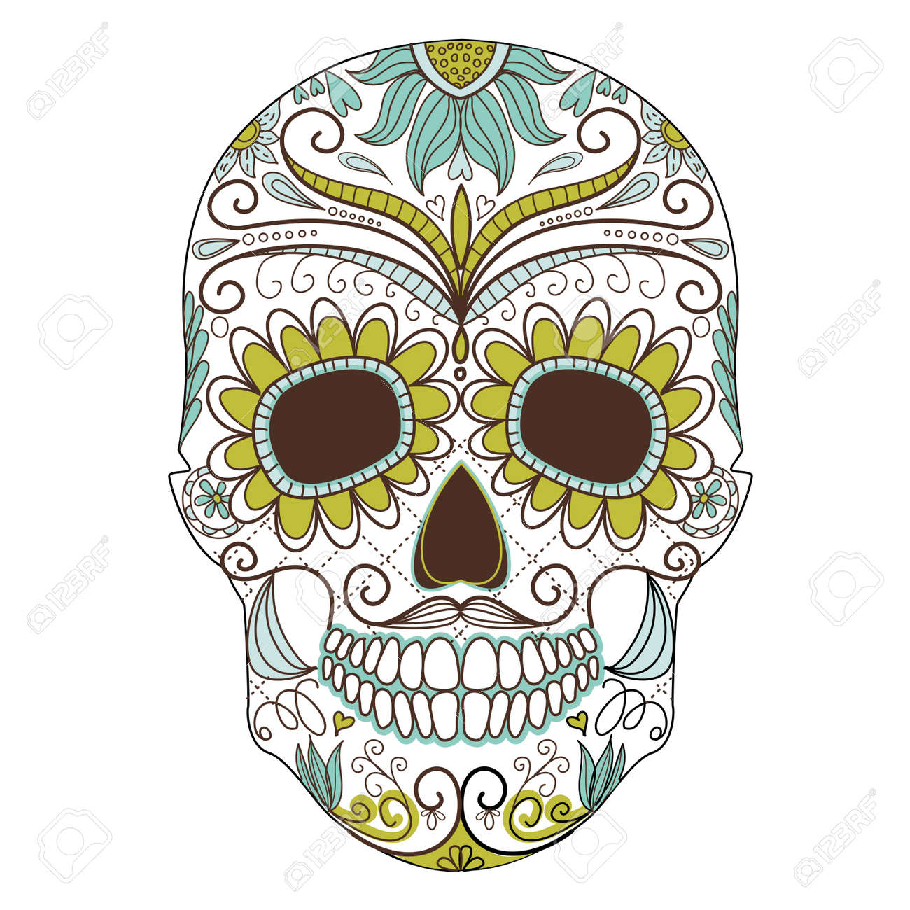 Day Of The Dead Colorful Skull With Floral Ornament Stock Vector