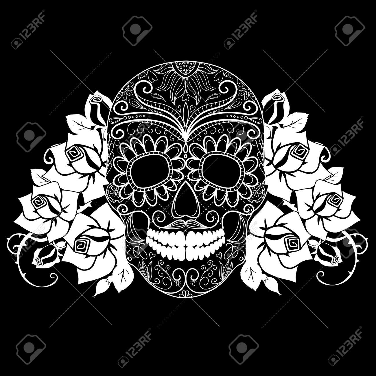 Black Rose And Skull Wallpaper Skull And Roses Black And