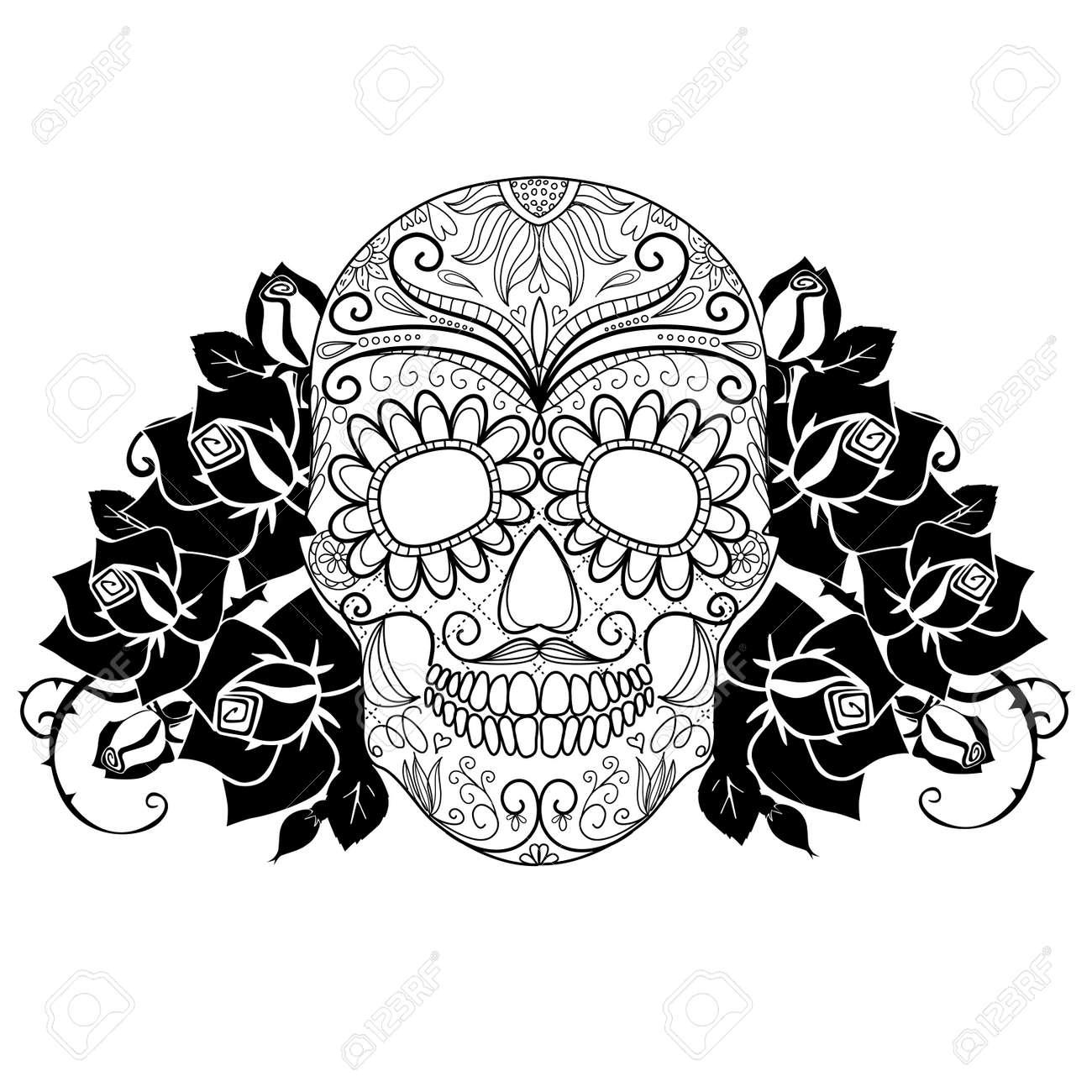 Cráneo Y Rosas El Día En Blanco Y Negro De La Tarjeta Dead