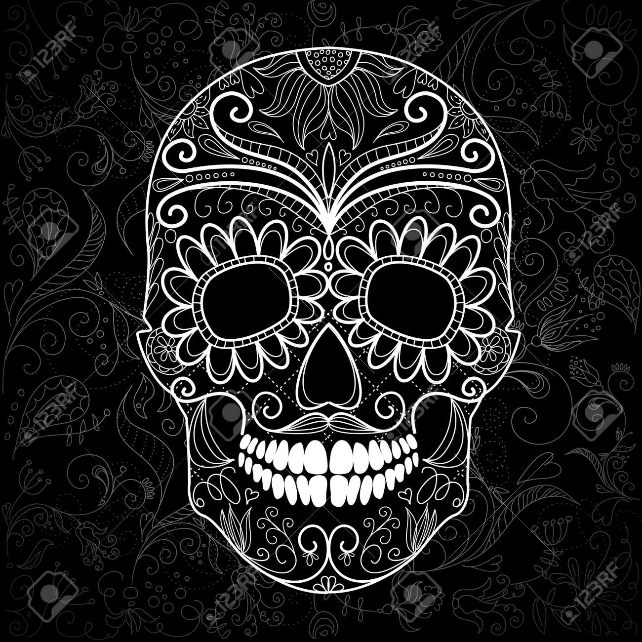 Day of The Dead black and white Skull Stock Vector - 16681236