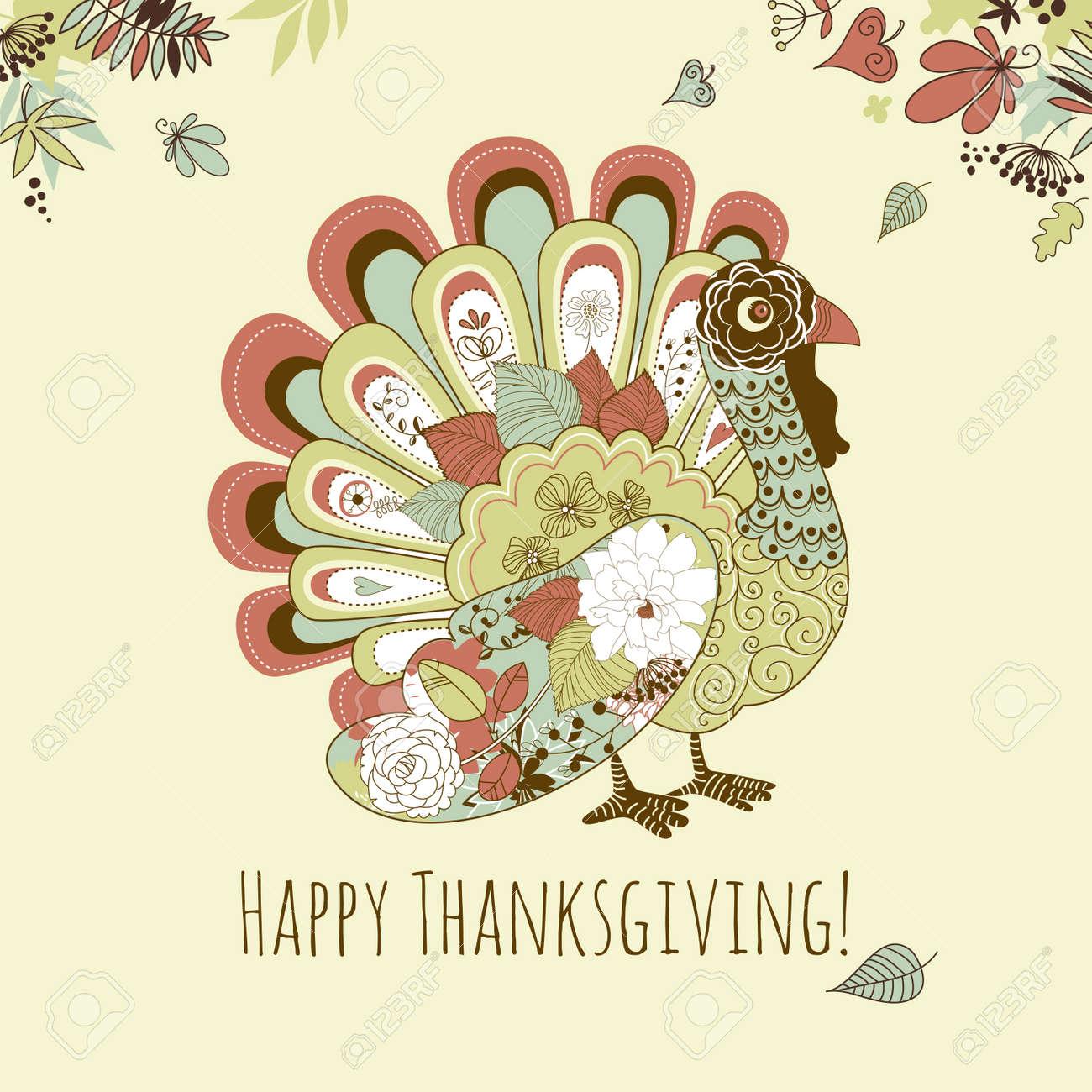 Happy Thanksgiving beautiful turkey card Stock Vector - 16681212