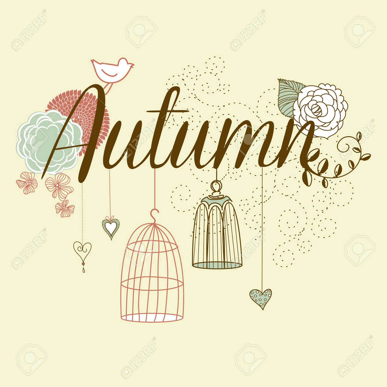Floral Autumn background. The word Autumn decorated with birdcages and flowers Stock Vector - 16681079