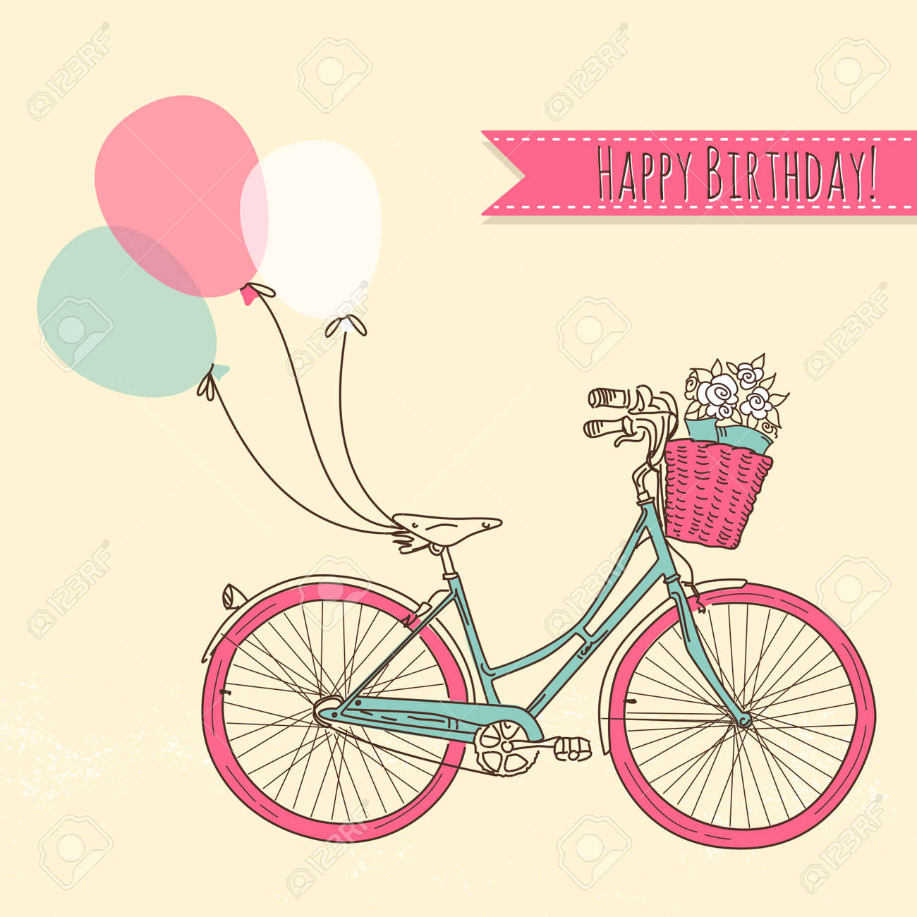 Bicycle with balloons and a basket full of flowers, Romantic Birthday card Stock Vector - 16681171