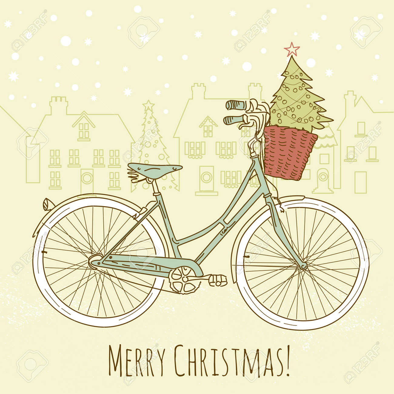 Riding a bike in style, Christmas postcard Stock Vector - 16681176