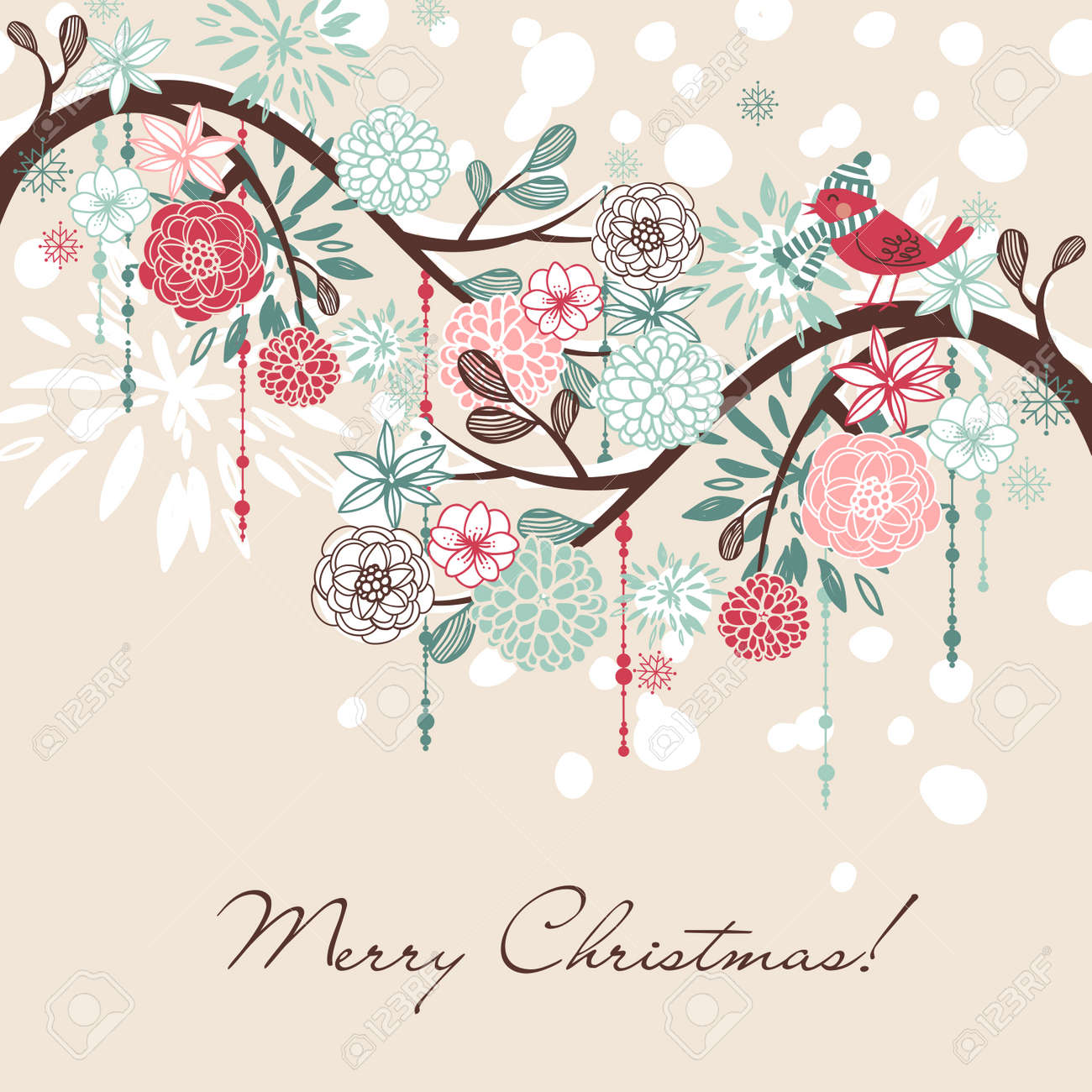 floral winter background royalty free cliparts vectors and