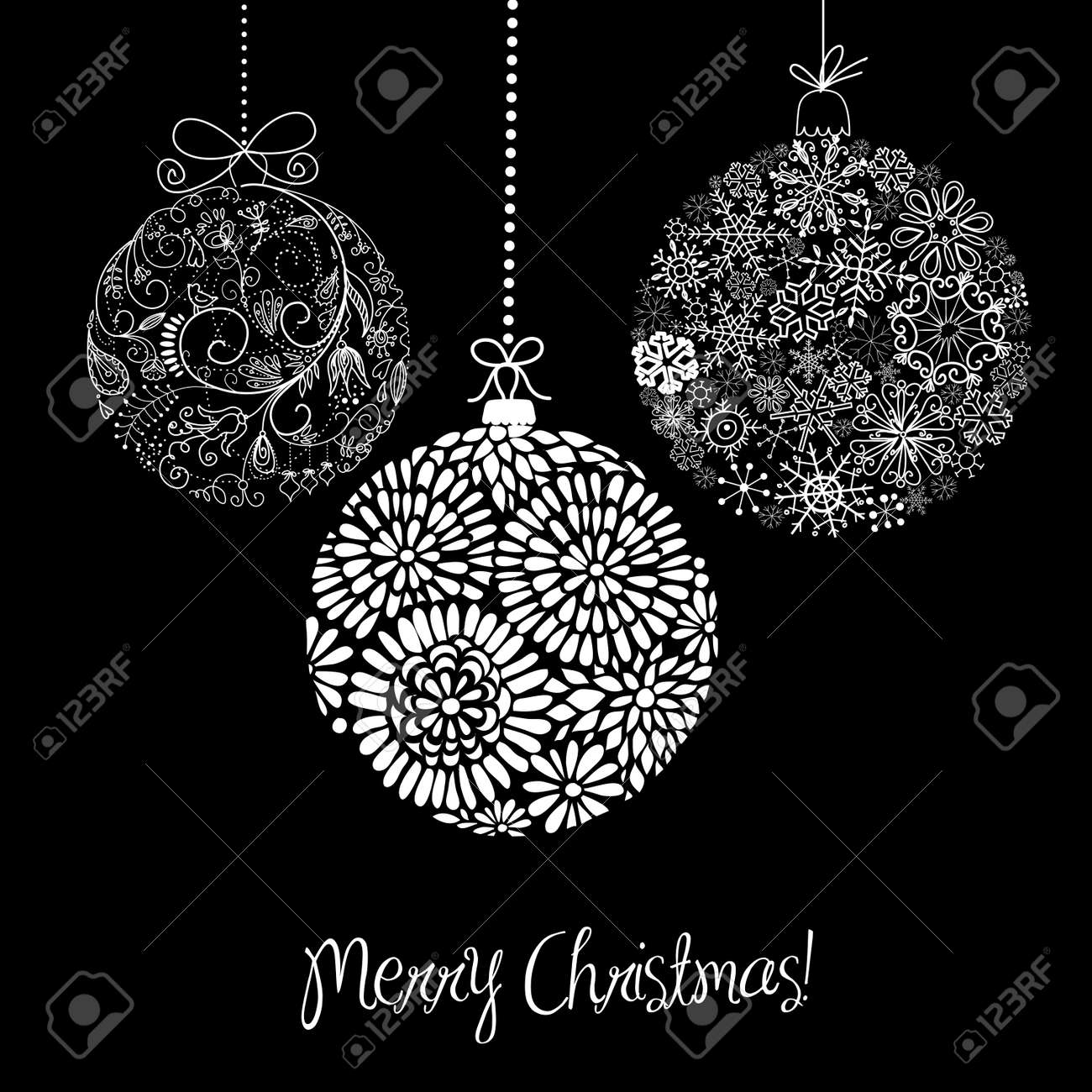 Christmas ornament black and white - Black And White Christmas Ornaments Stock Vector 16681188