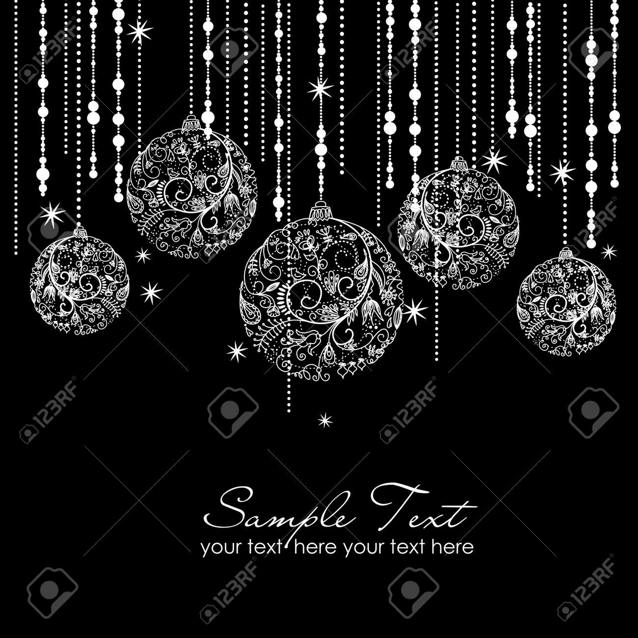 Black and White Christmas ornaments Stock Vector - 16681203
