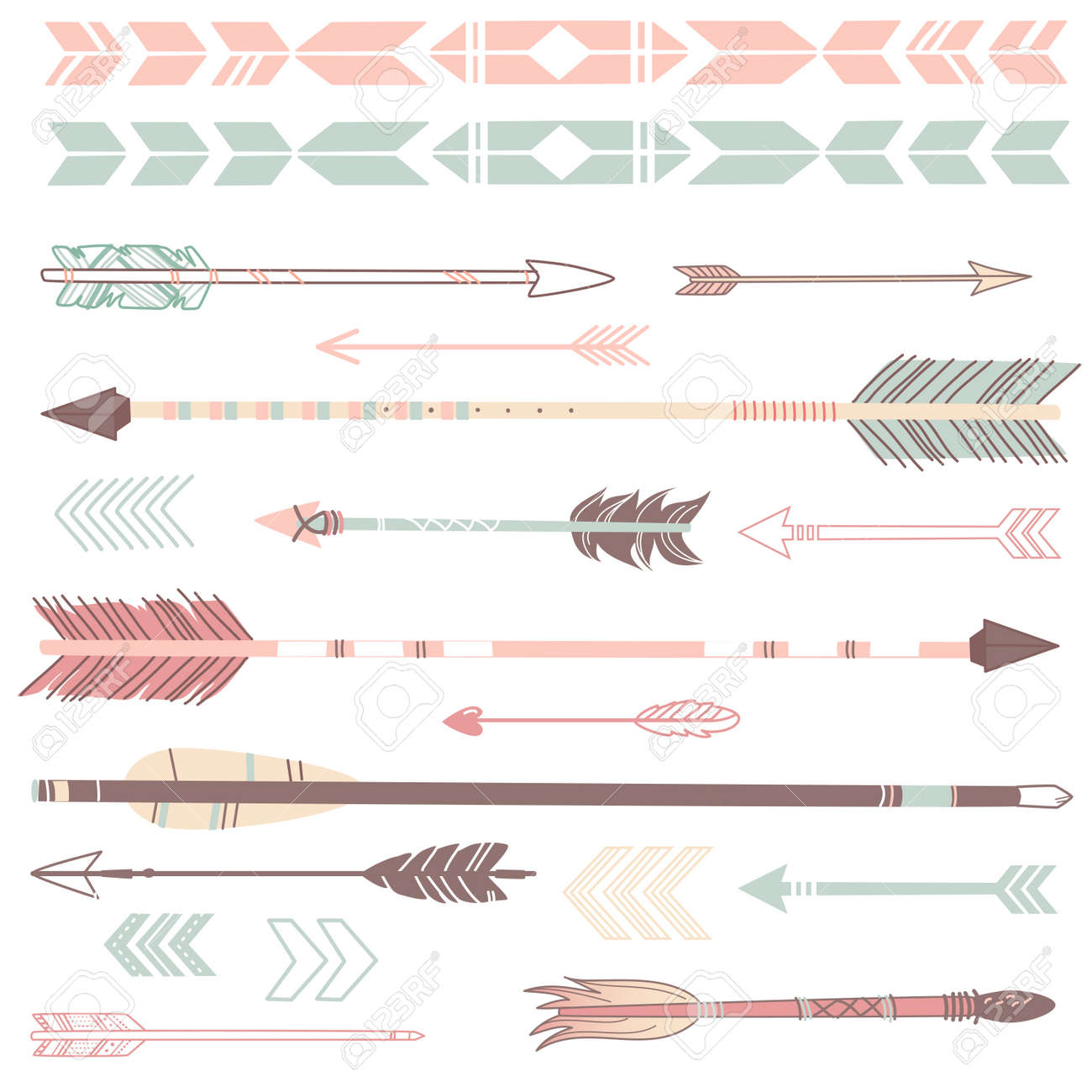 A set of cute hipster arrows, hand drawn doodles Stock Vector - 20468362