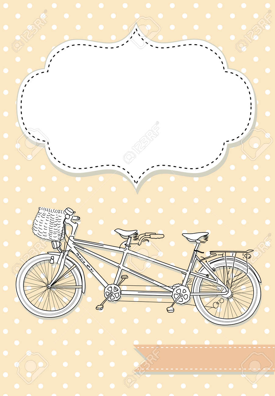 Tandem Bicycle Wedding Invitation With Polka Dot Background Royalty ...