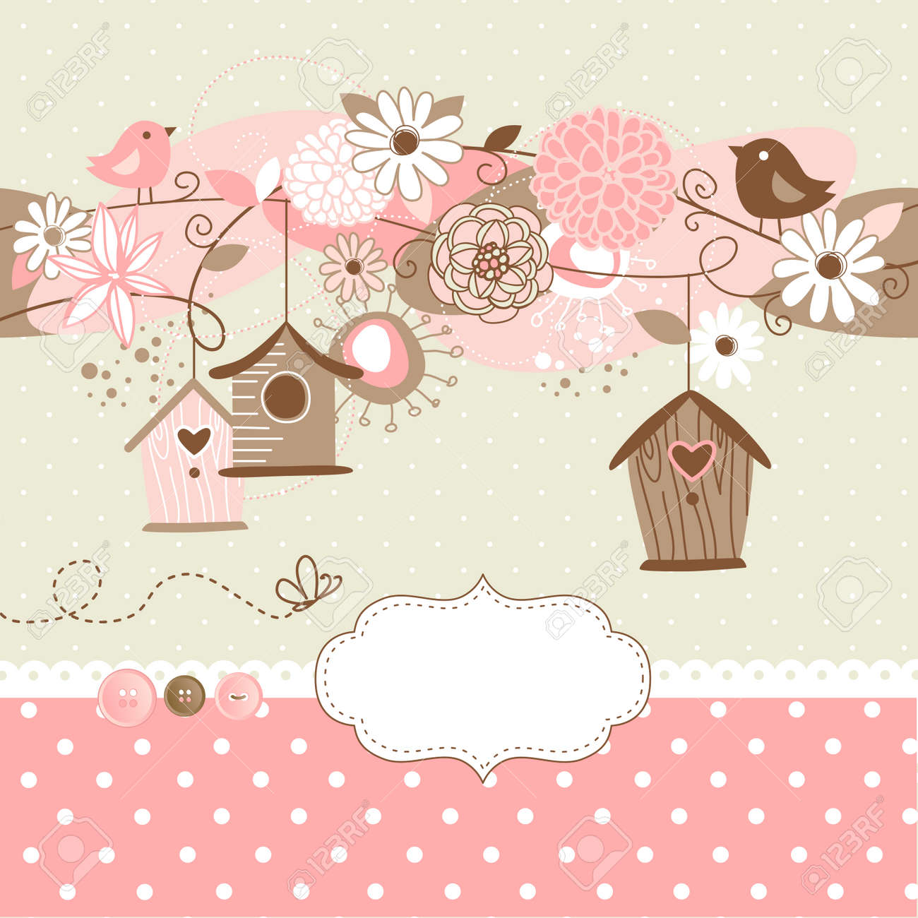 Beautiful Spring background with bird houses, birds and flowers Stock Vector - 20468396