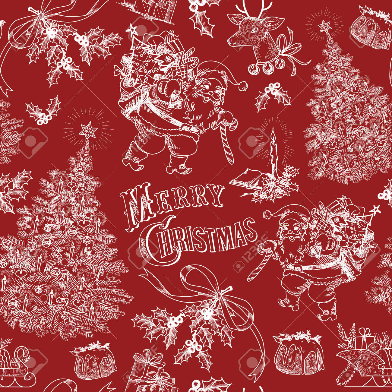 Red Vintage Christmas Pattern Royalty Free Cliparts, Vectors, And ...