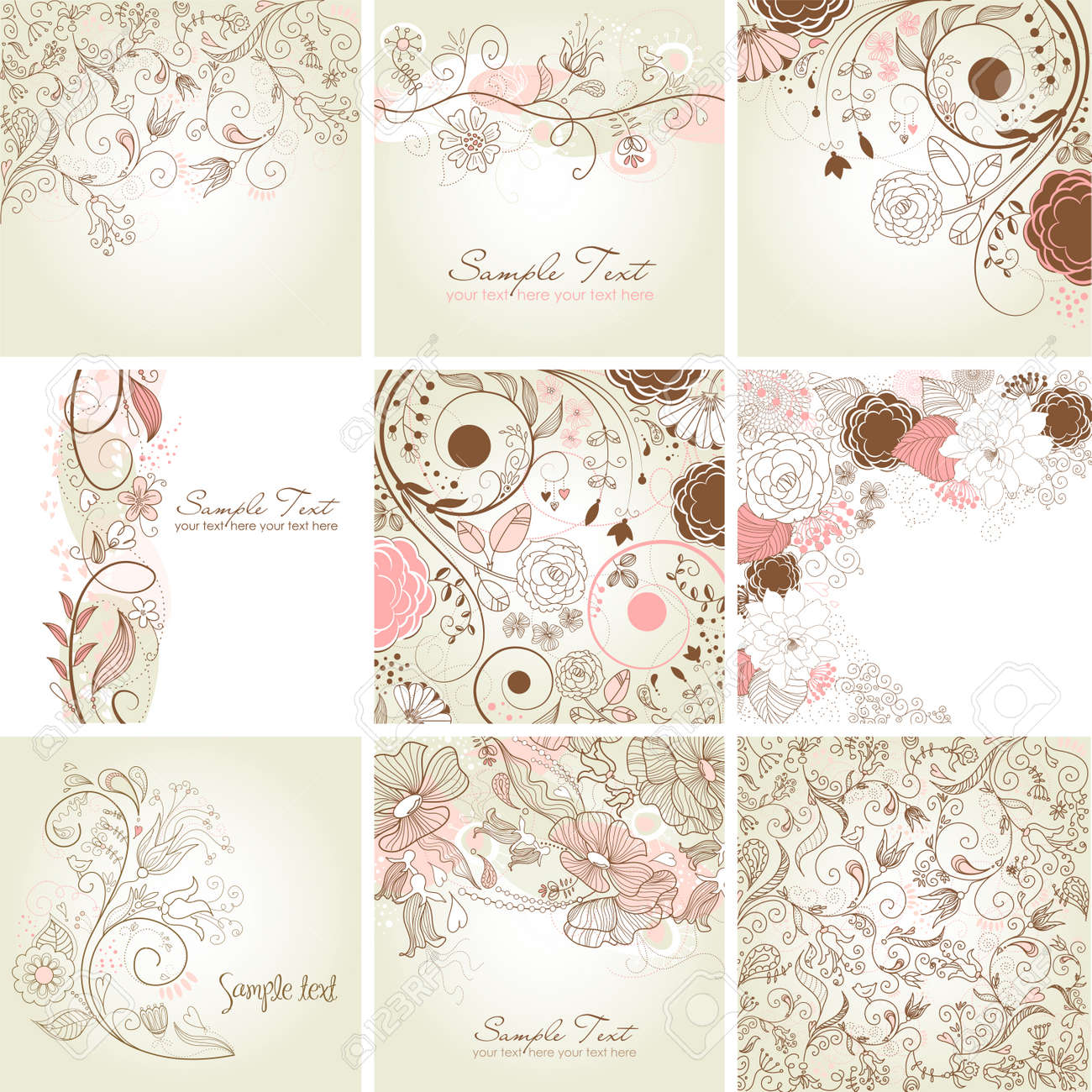 Set of cute floral greeting cards Stock Vector - 20468453
