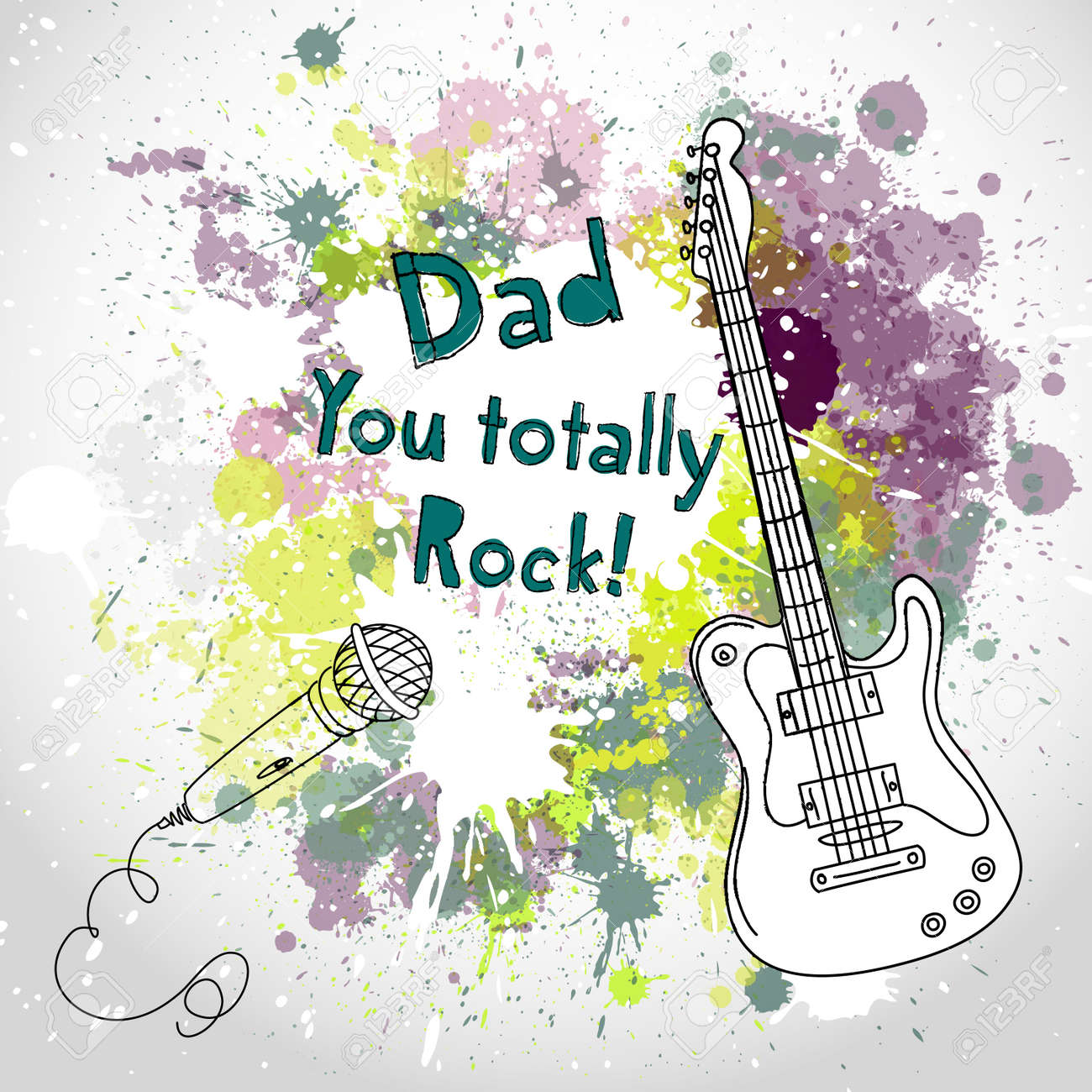 Happy Father's Day card, with guitar and microphone Stock Vector - 20468464