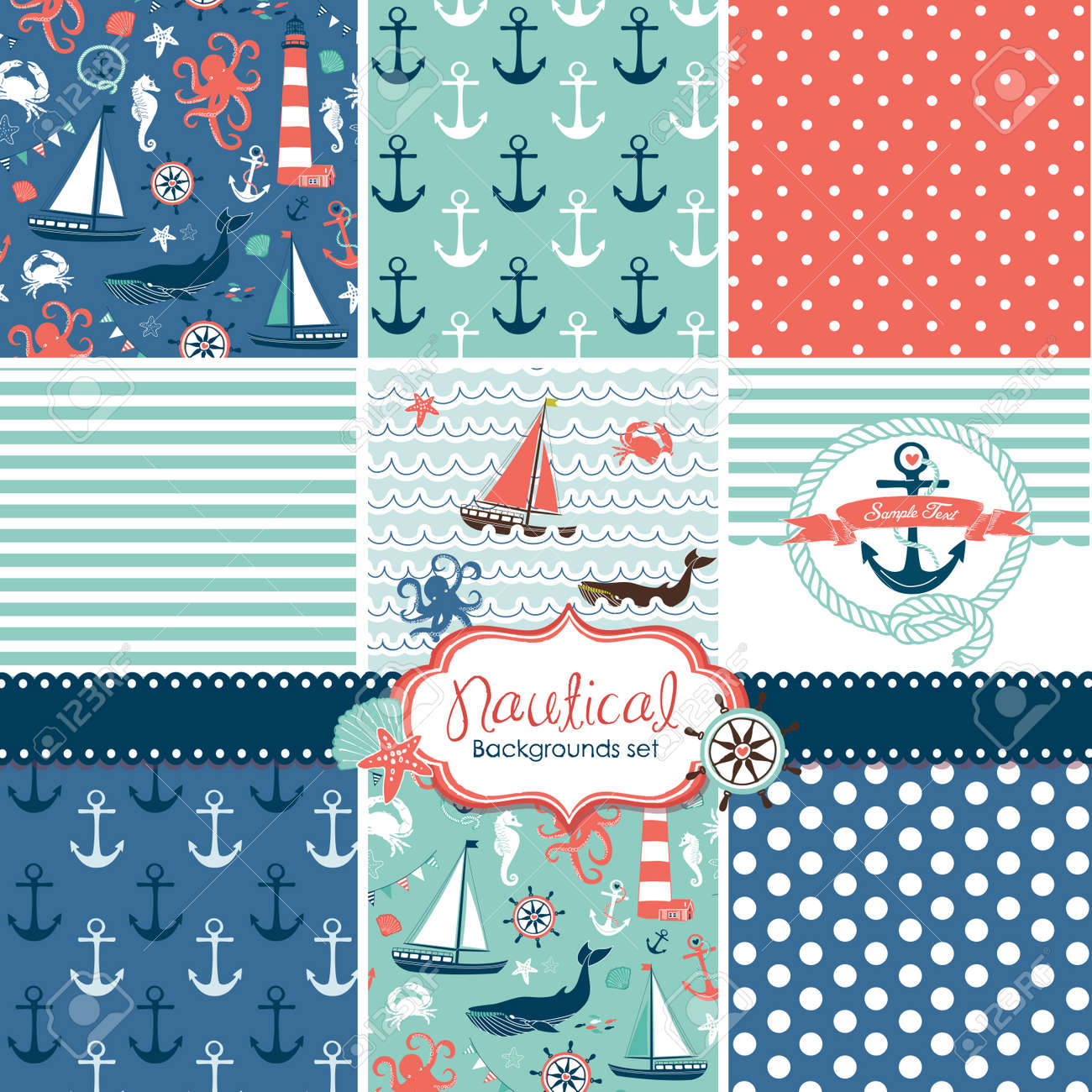 A set of 9 nautical backgrounds, blue, red and white seamless patterns - 20468433
