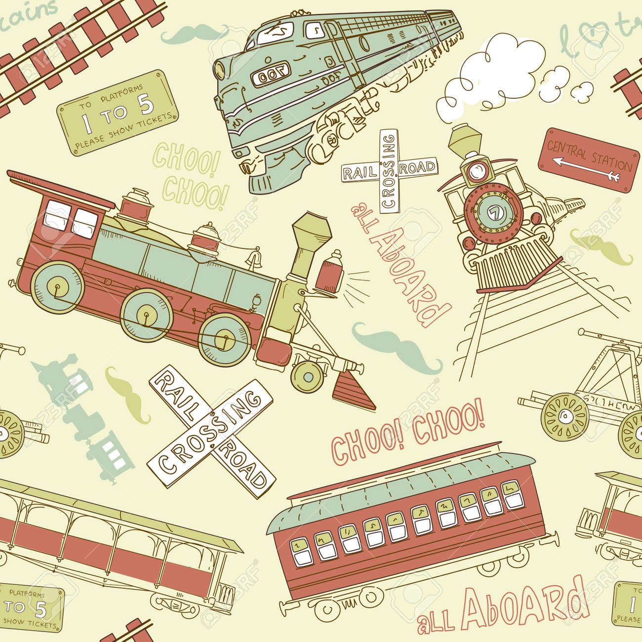 Samles pattern vintage trains and railroad doodles Stock Vector - 20468423