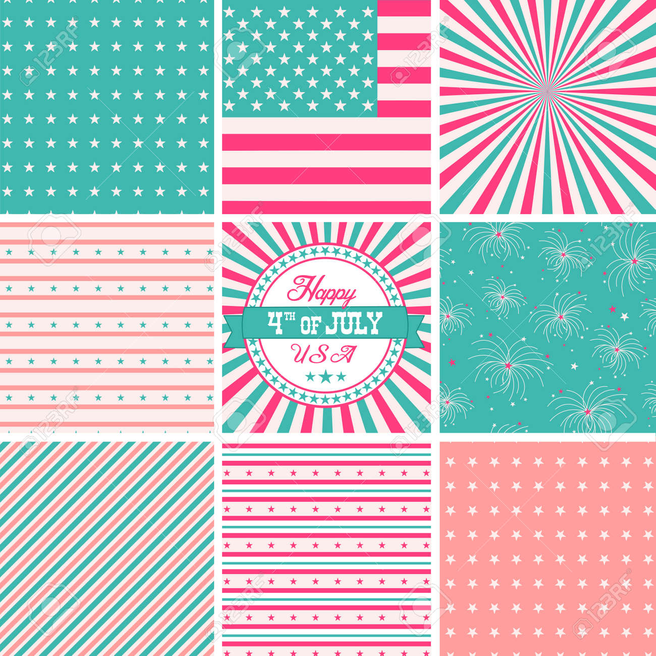 Pink White And Turquose, stars and stripes - USA backgrounds Stock Vector - 20468401