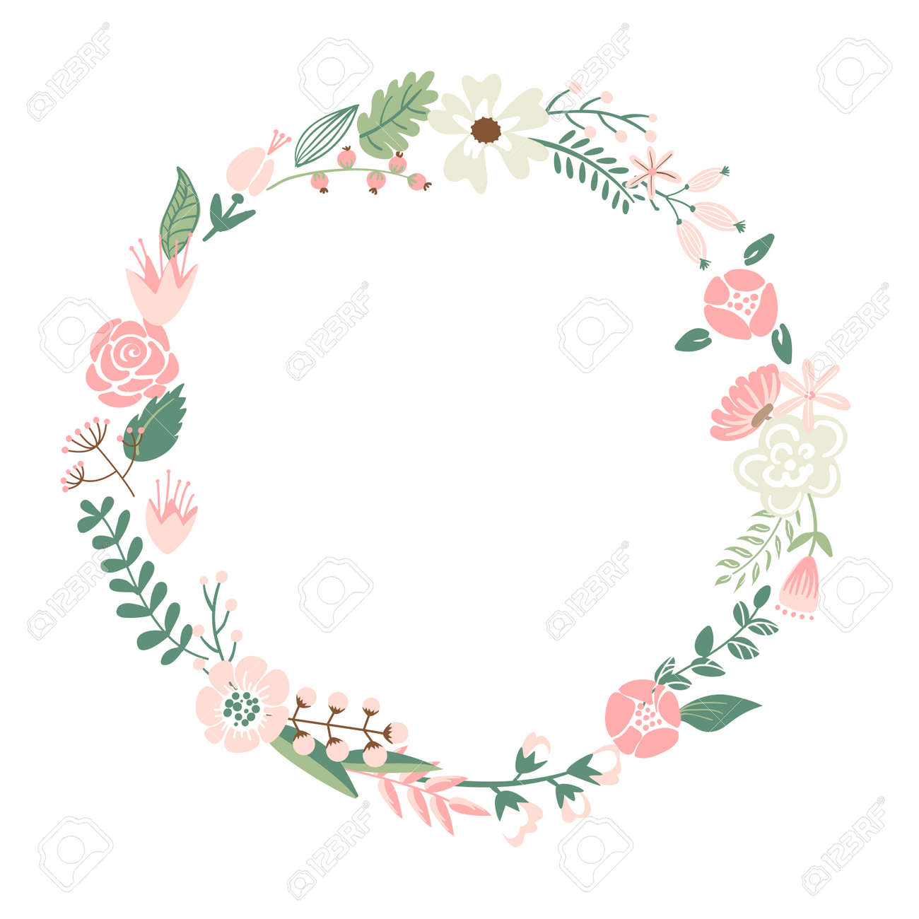 Cute Retro Flowers Arranged In A Shape Of The Wreath Perfect Royalty