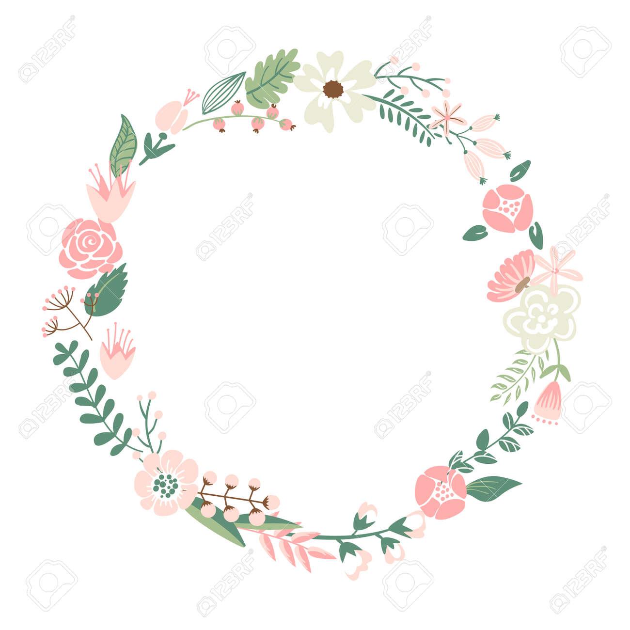De Rétros Fleurs Mignonnes Disposées En Forme De La Couronne