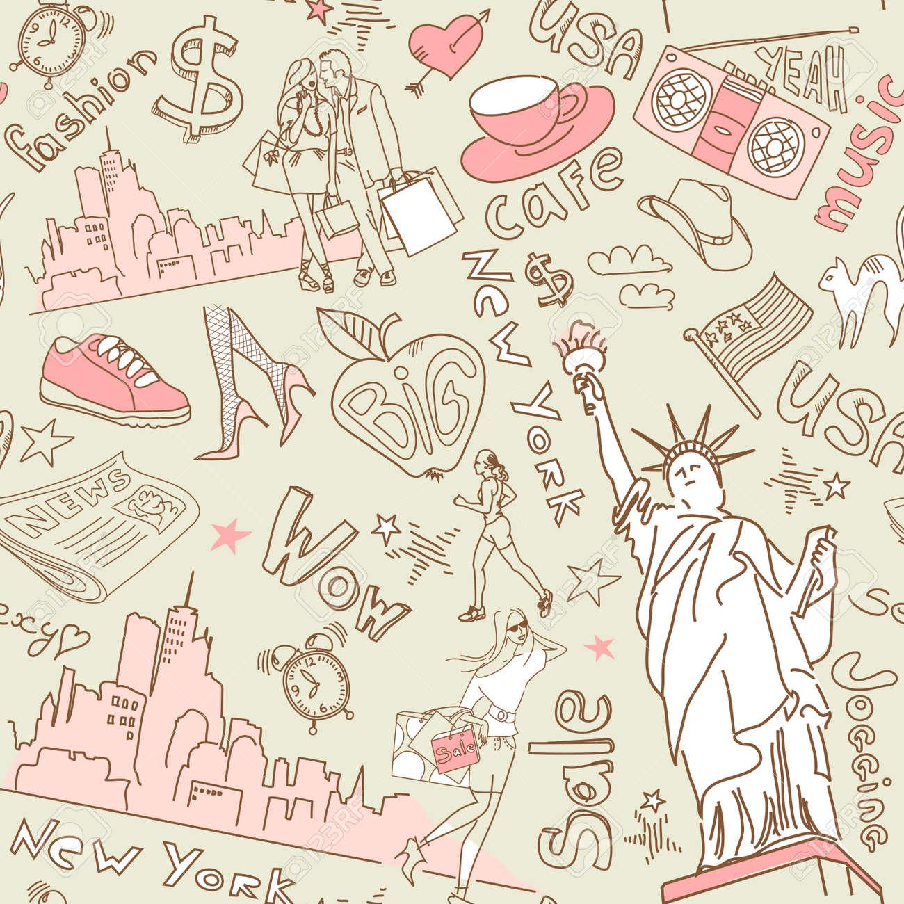 New York seamless doodles pattern Stock Vector - 25077093