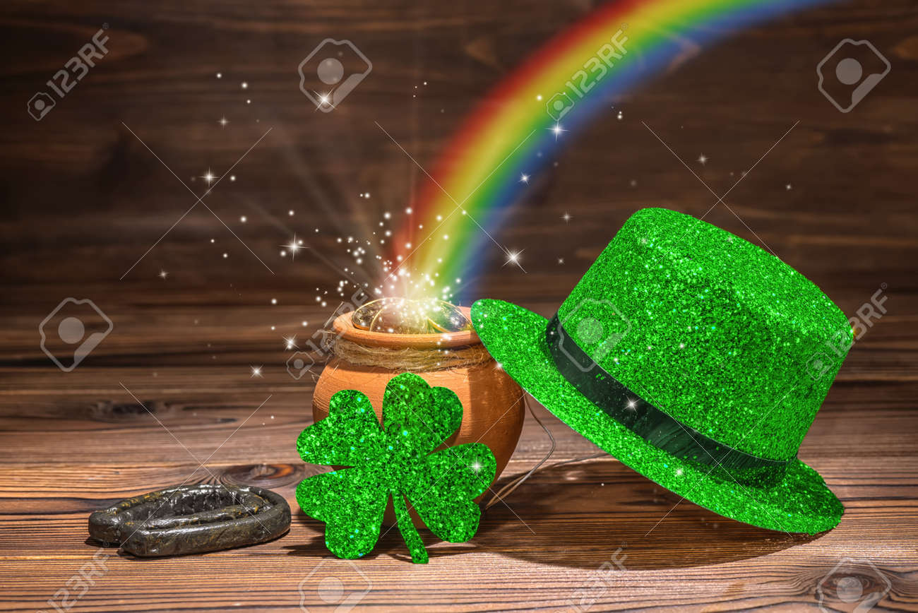 St Patricks Day Decoration With Magic Light Rainbow Pot Full Gold Coins Horseshoe Green