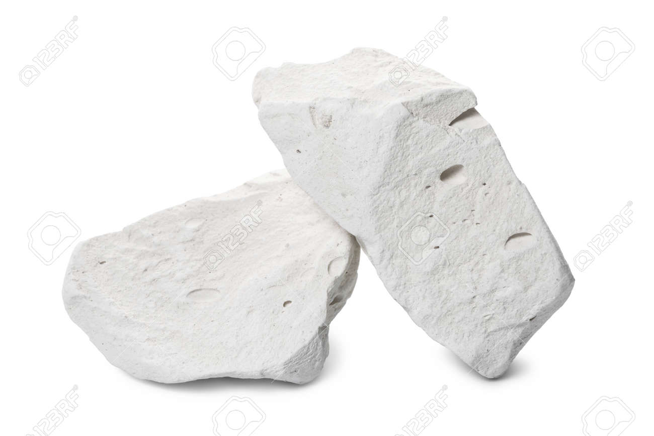 two natural piece of chalk mineral stone is isolated on white background - 120905972