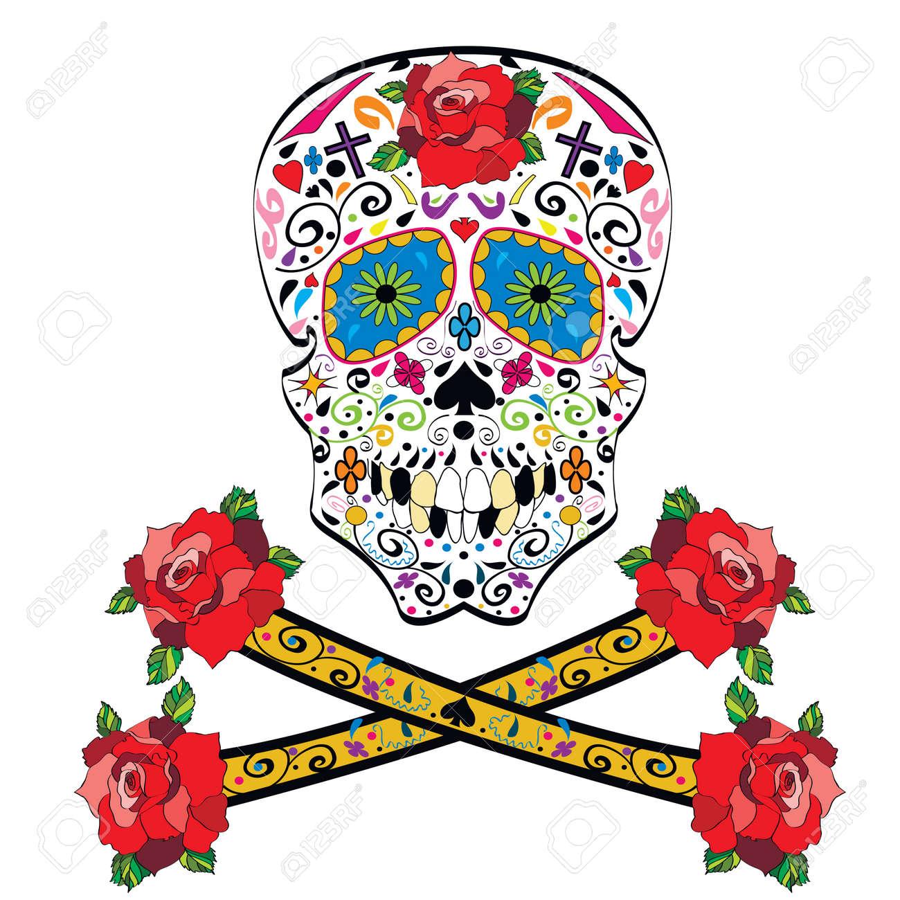 Sugar skull illustration on white background - 29985385