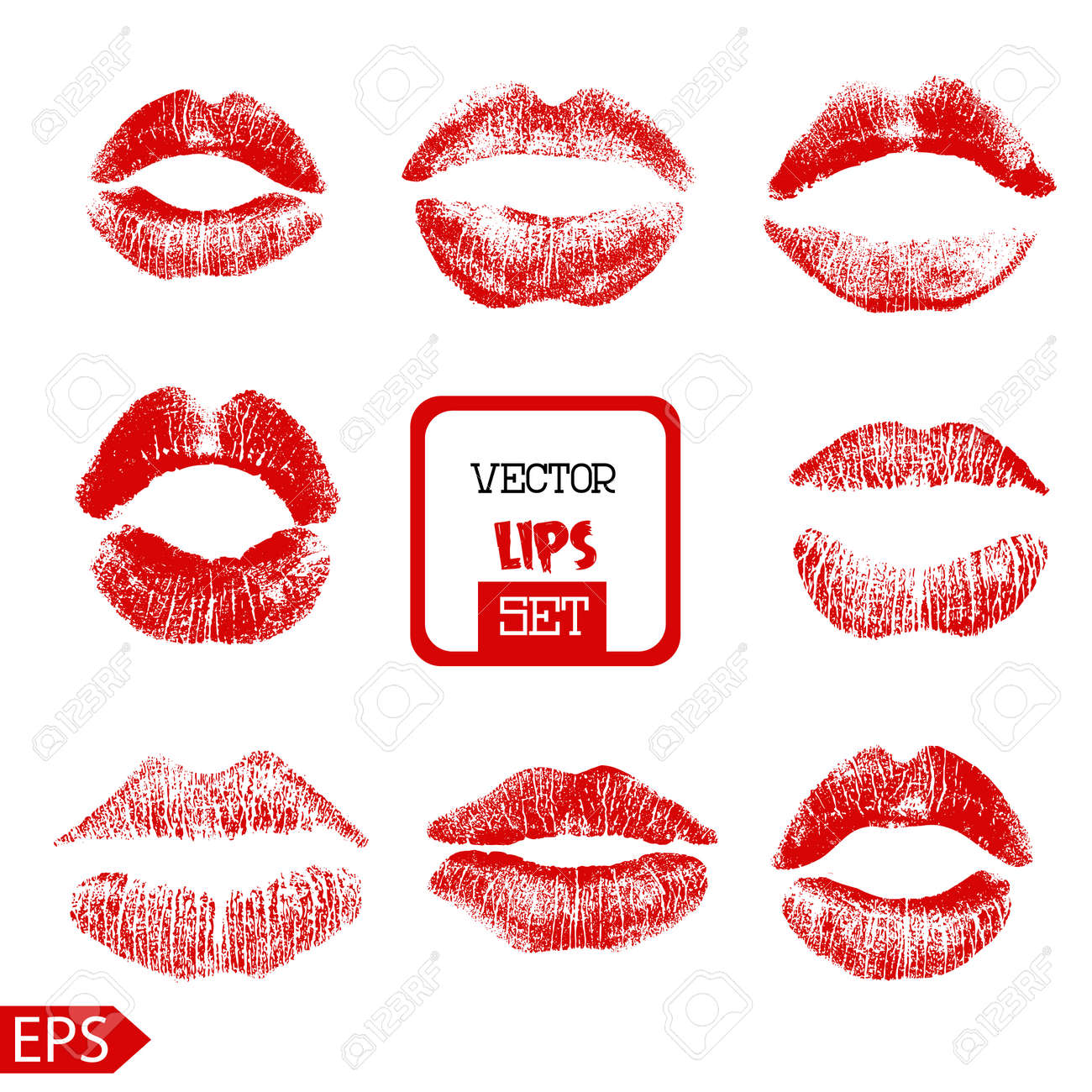Print of pink lips set. Vector illustration on a white background. EPS - 39438806