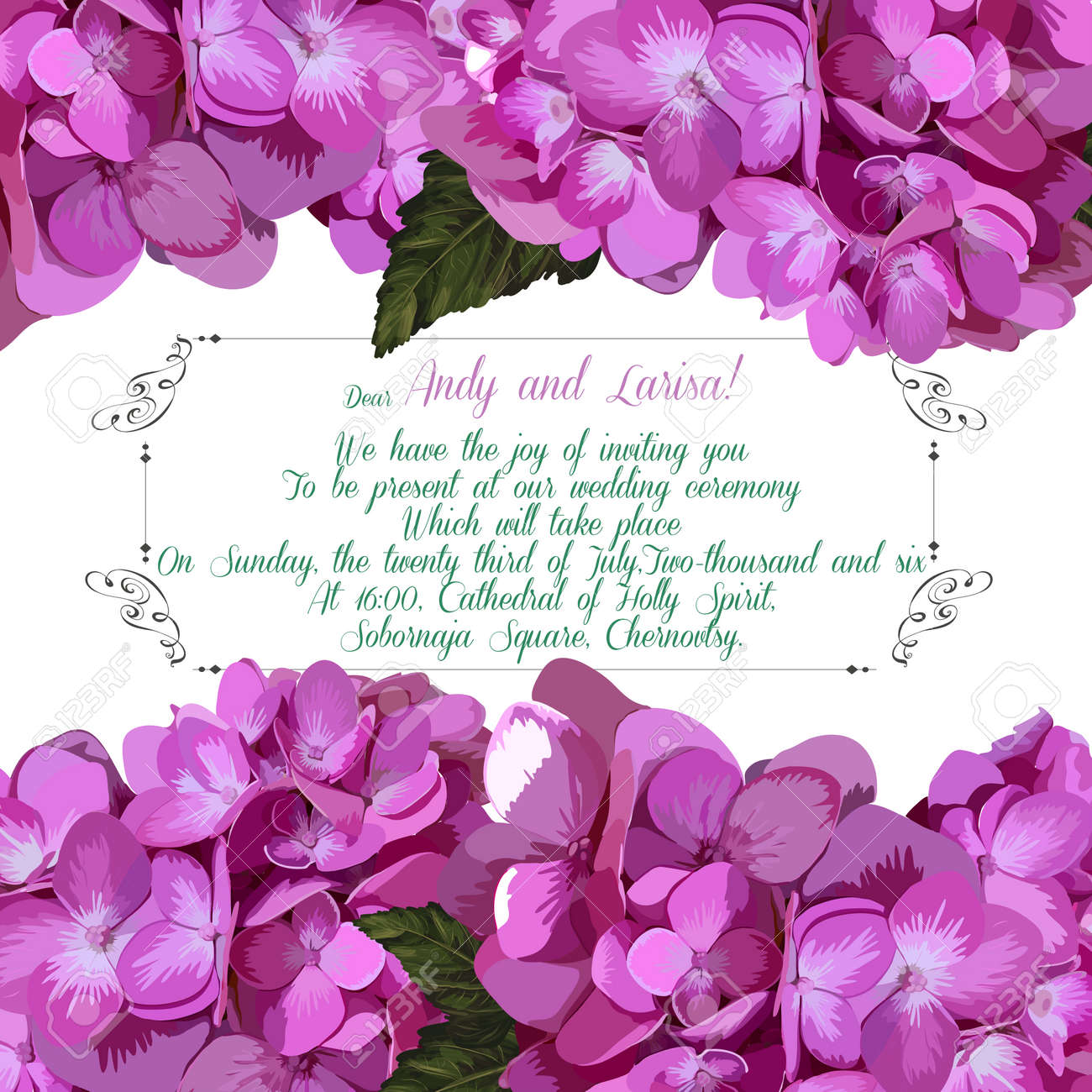 Wedding invitation with hydrangea for your design. Vector EPS - 39808573