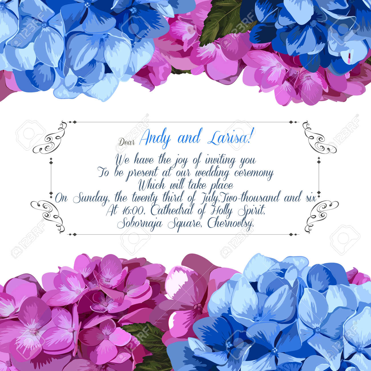 Wedding invitation with hydrangea for your design. Vector EPS - 39808585