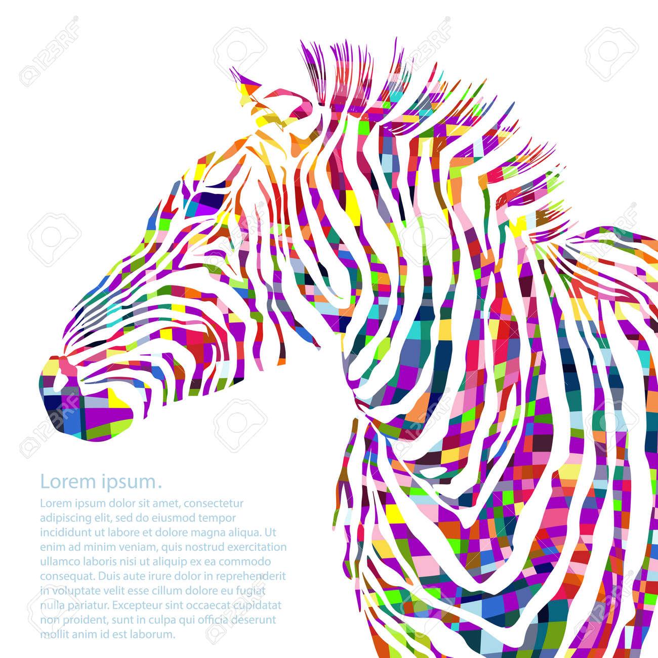 Animal watercolor illustration silhouette zebra. Vector illustration - 40861743