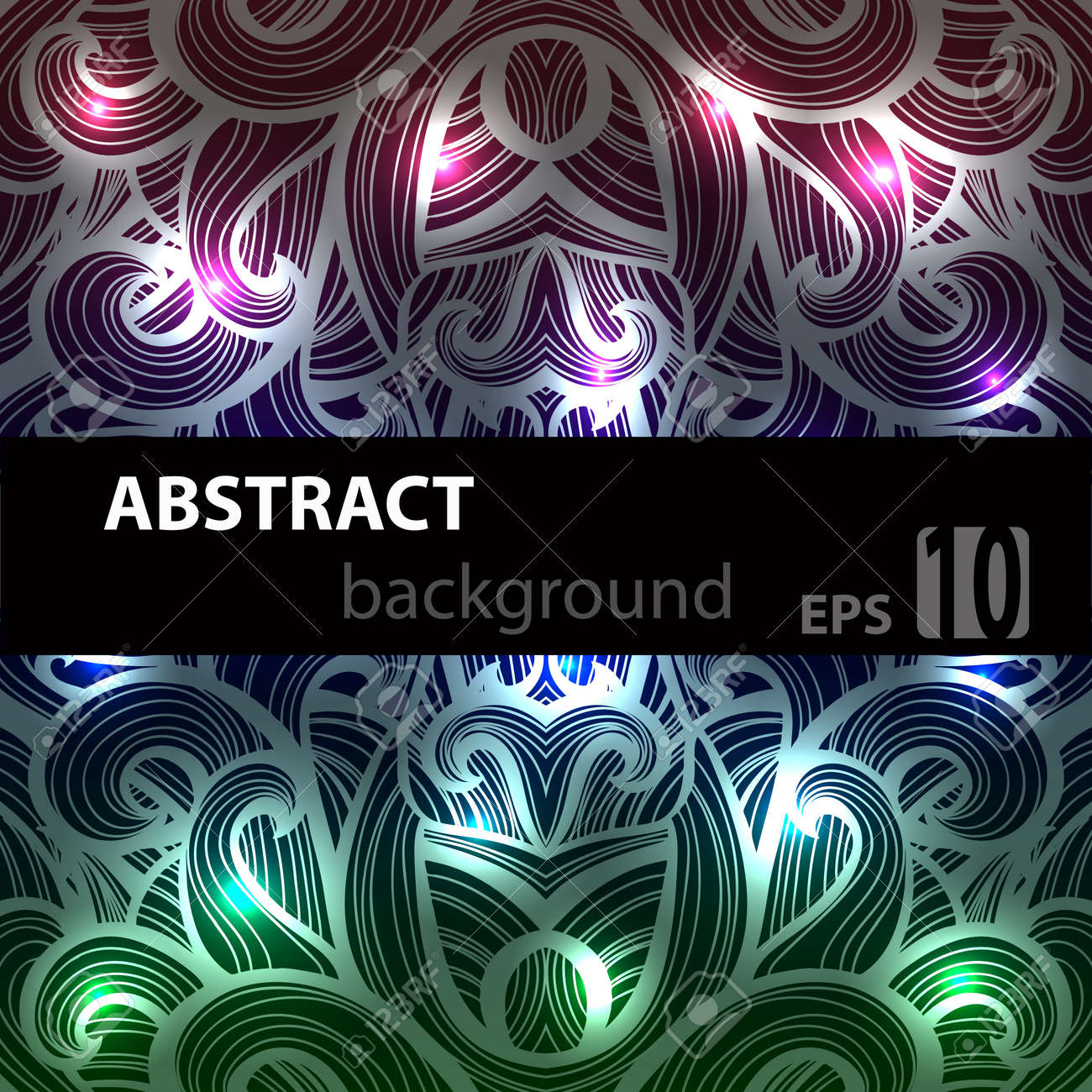 Abstract disco glowing ornament of background. Vector illustration. EPS - 44614032