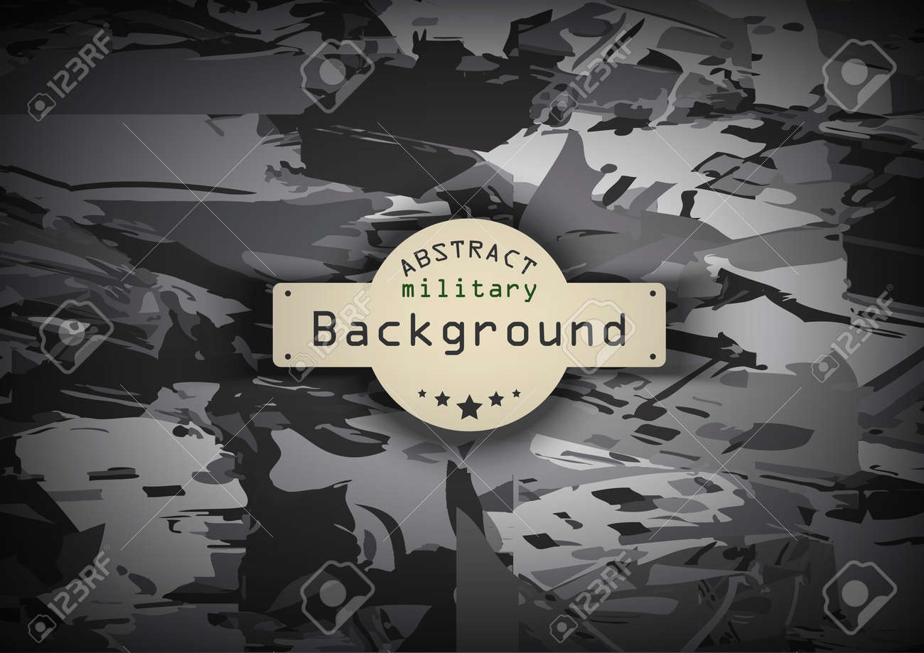Camouflage military monochrome pattern background. Vector illustration - 45321910